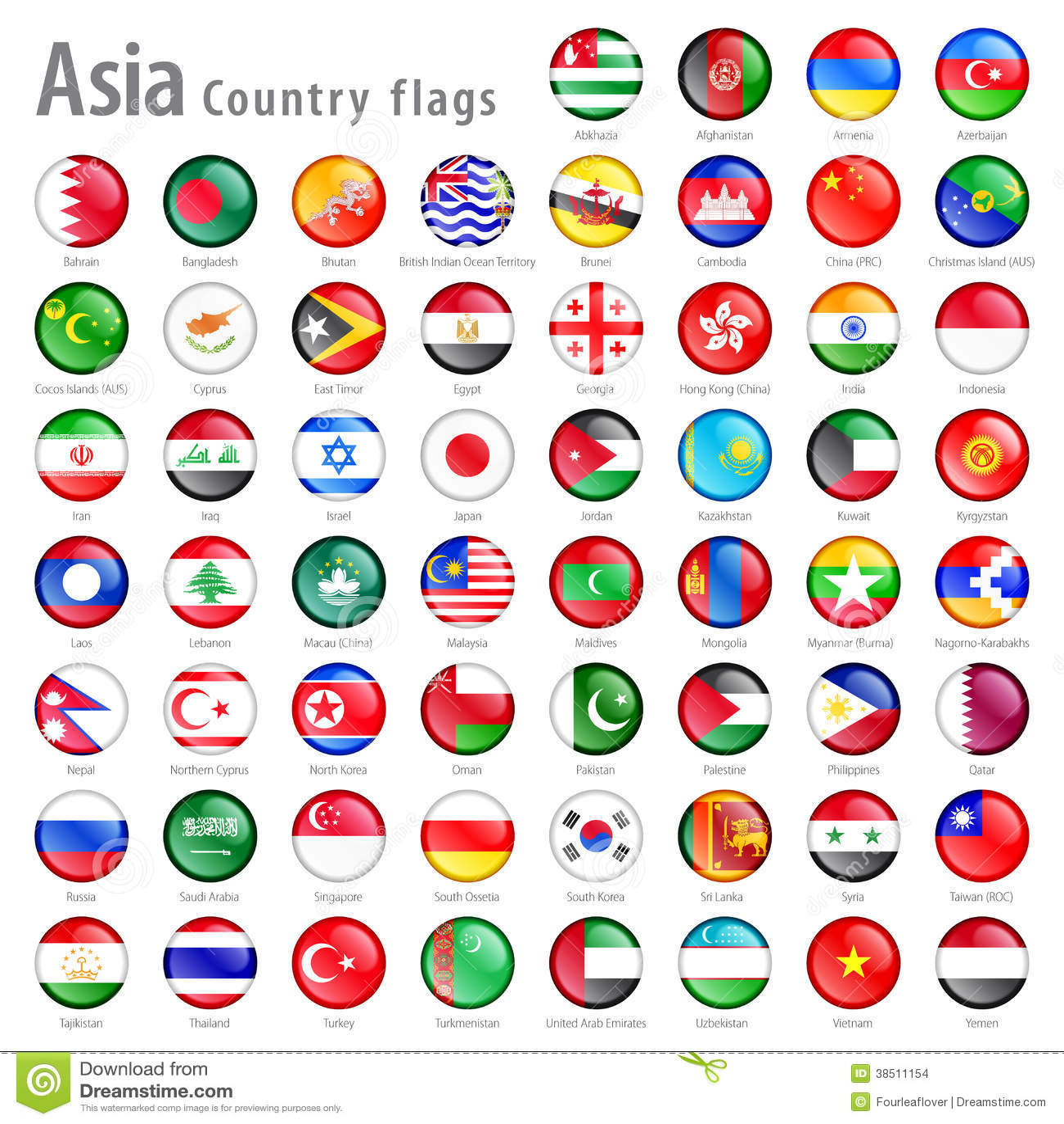 Vector Asian National Flag Set Stock Vector - Illustration