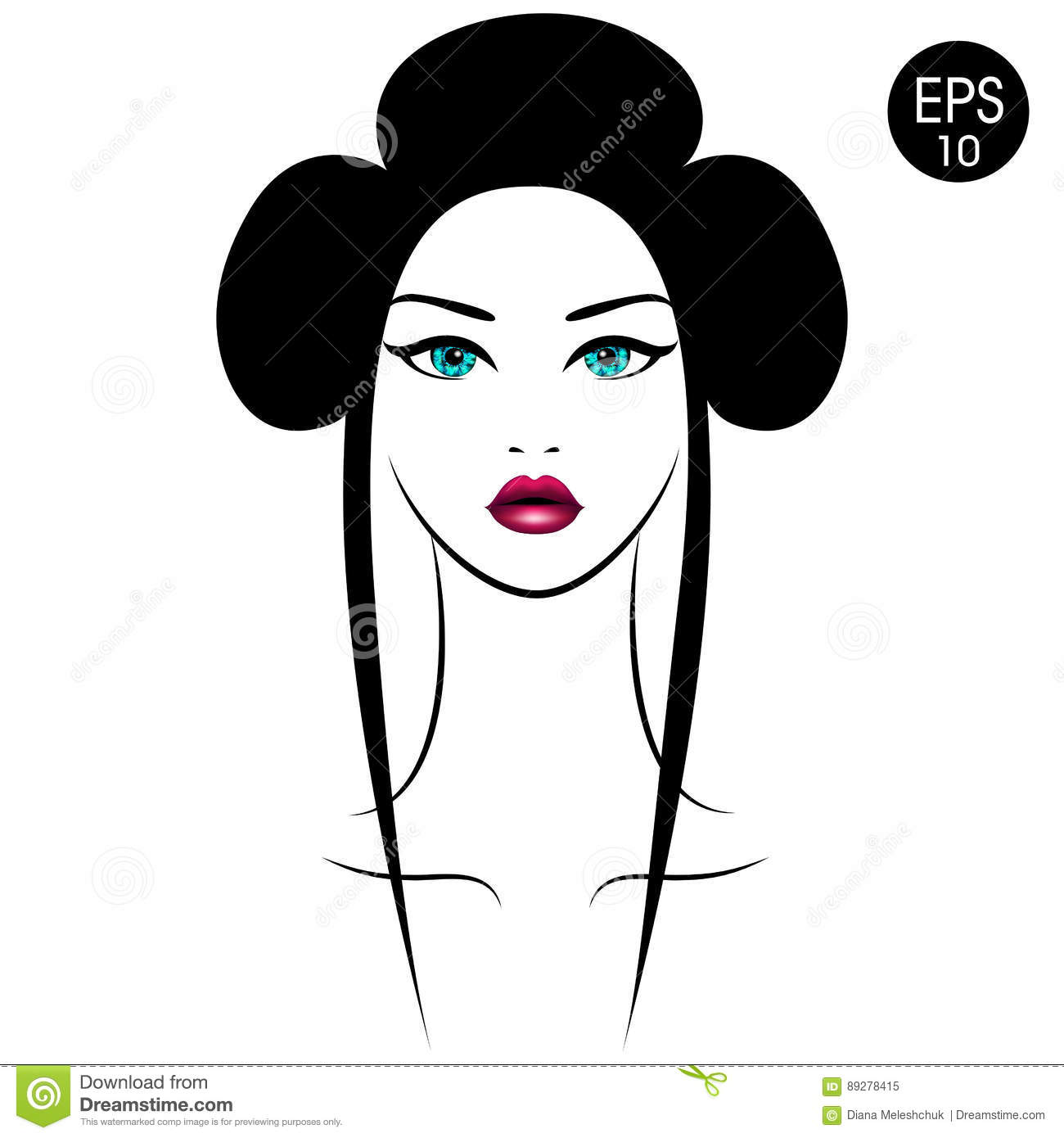 Vector Asian Woman Girls Portrait With Traditional Hairstyle Stock