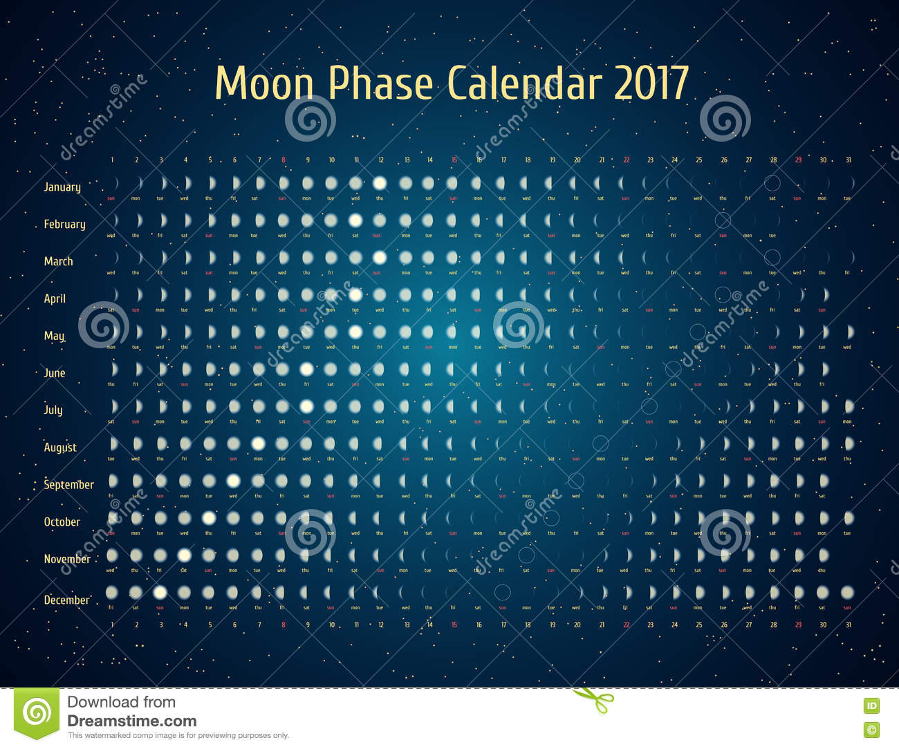 Live in the rhythm of nature in the UK  Lunar calendar 2017