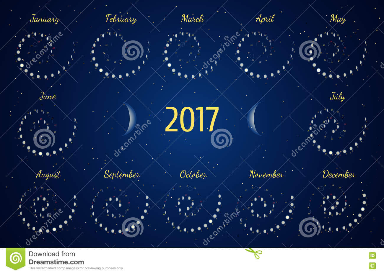 Calendar Design Zodiac : Vector astrological spiral calendar for moon phase