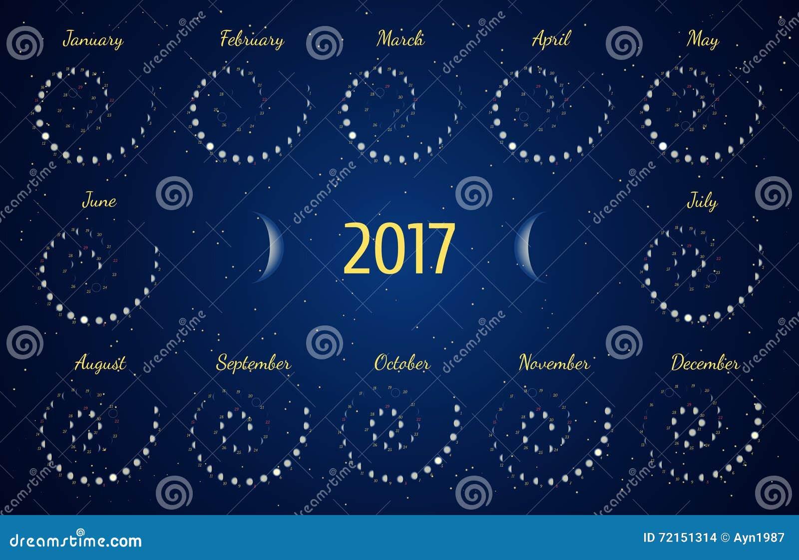 Calendar Design Ideas Vector : Vector astrological spiral calendar for moon phase