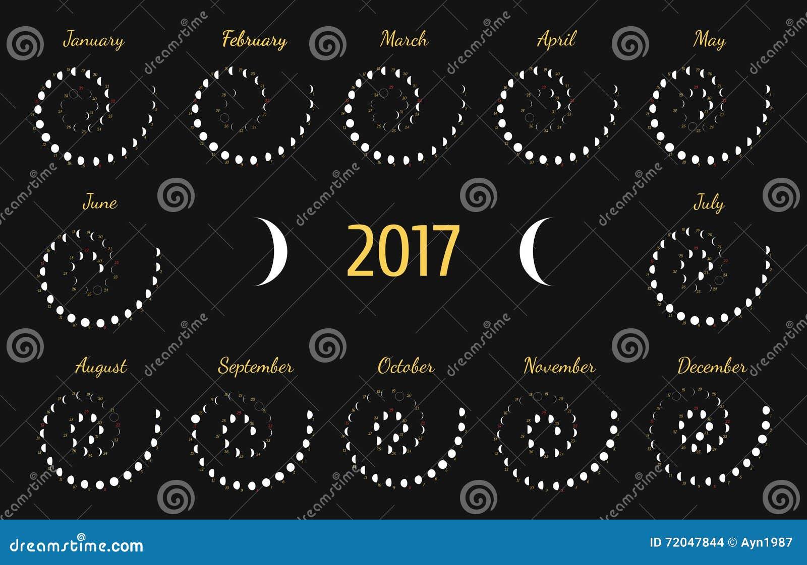 Vector astrologische spiraalvormige kalender voor 2017 De kalender van de Lunyefase voor wit op een donkere grijze achtergrond