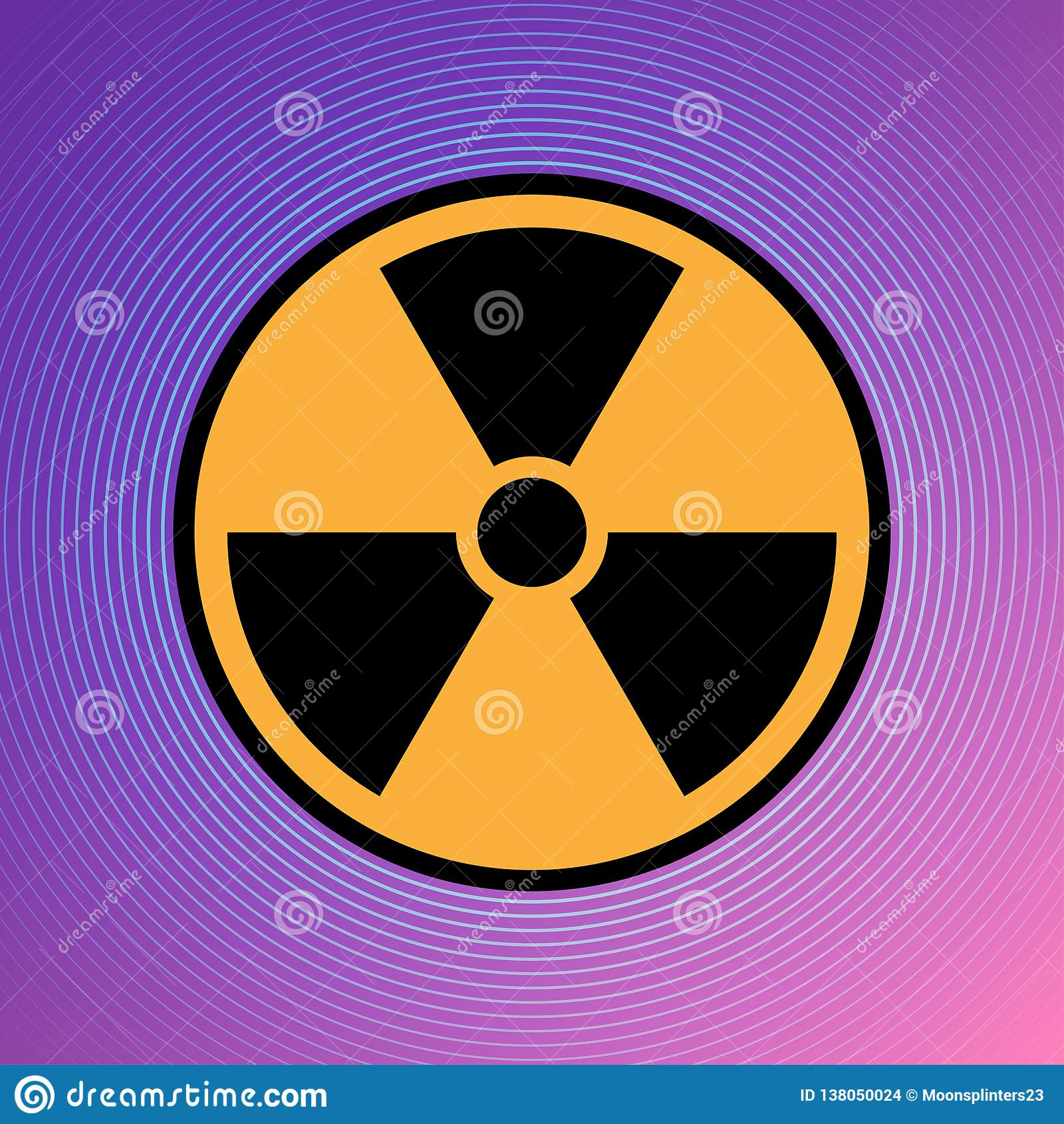 Vector atómico de uranio EPS 10 del ejemplo del icono del peligro del peligro de la atención radiactiva nuclear de la muestra