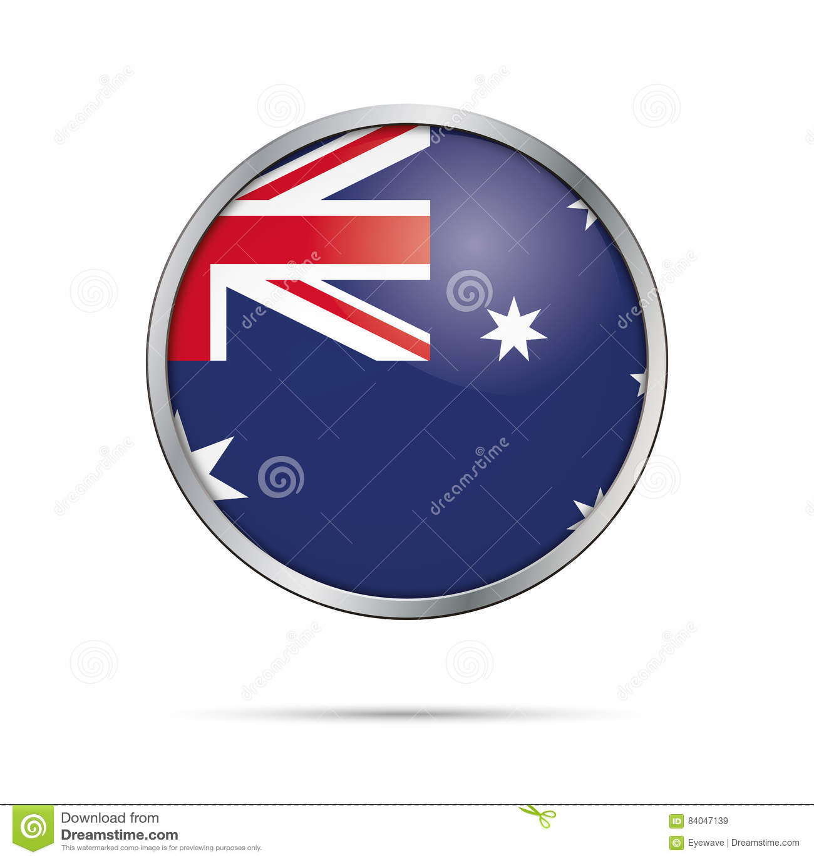 Vector Australian flag Button. Australia flag in glass button st