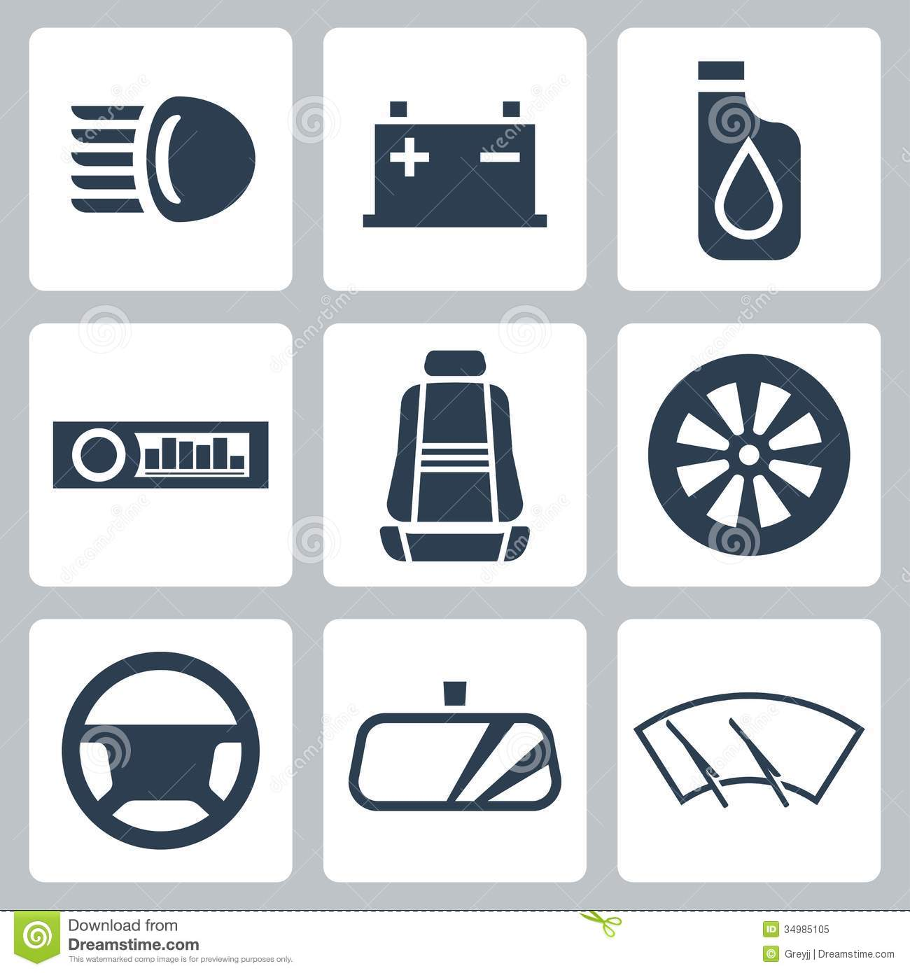 Car Shield Prices >> Vector Auto Parts Icons Set Stock Vector - Image: 34985105