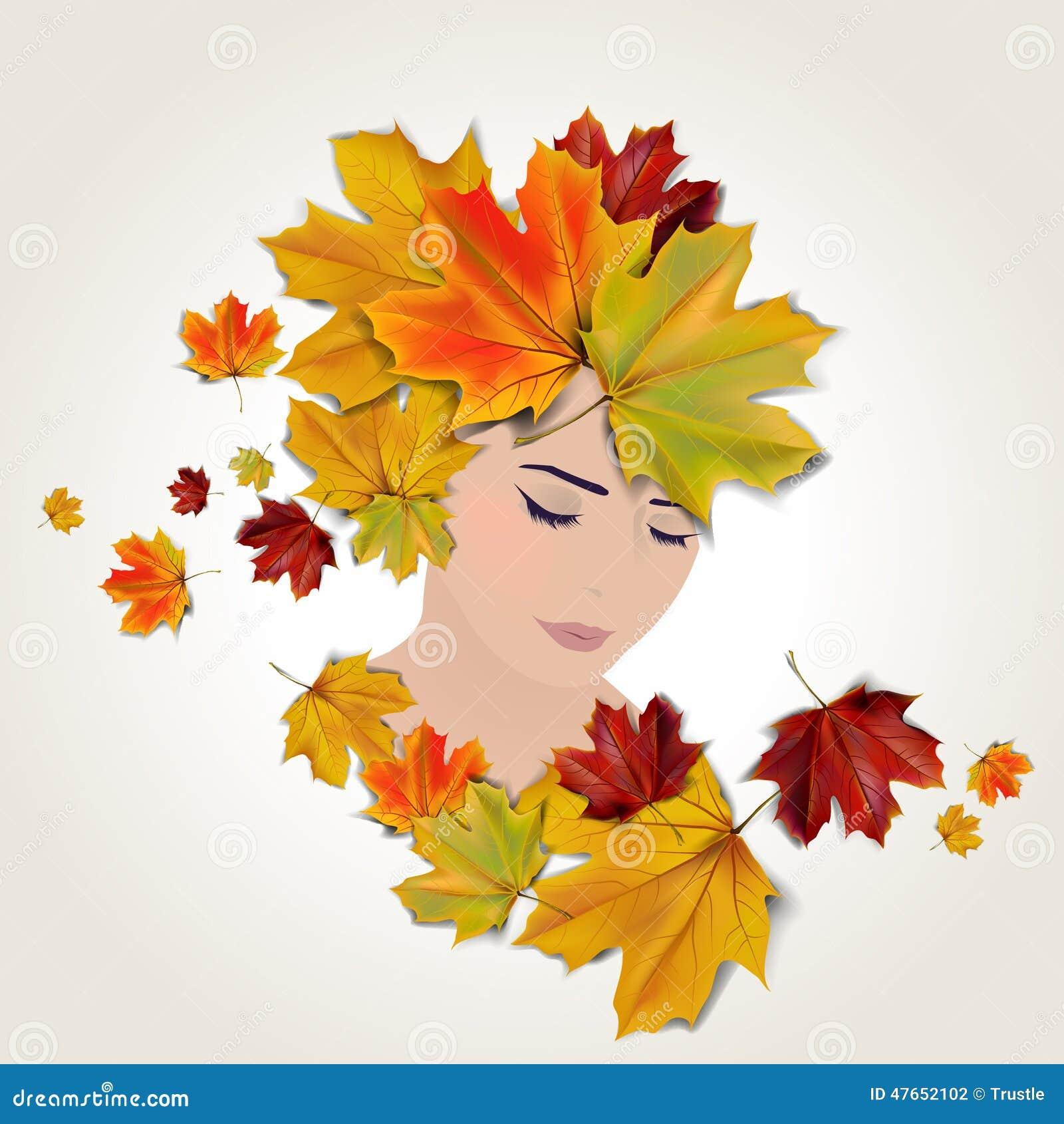 Vector Autumn Face Illustration Stock Vector Image 47652102