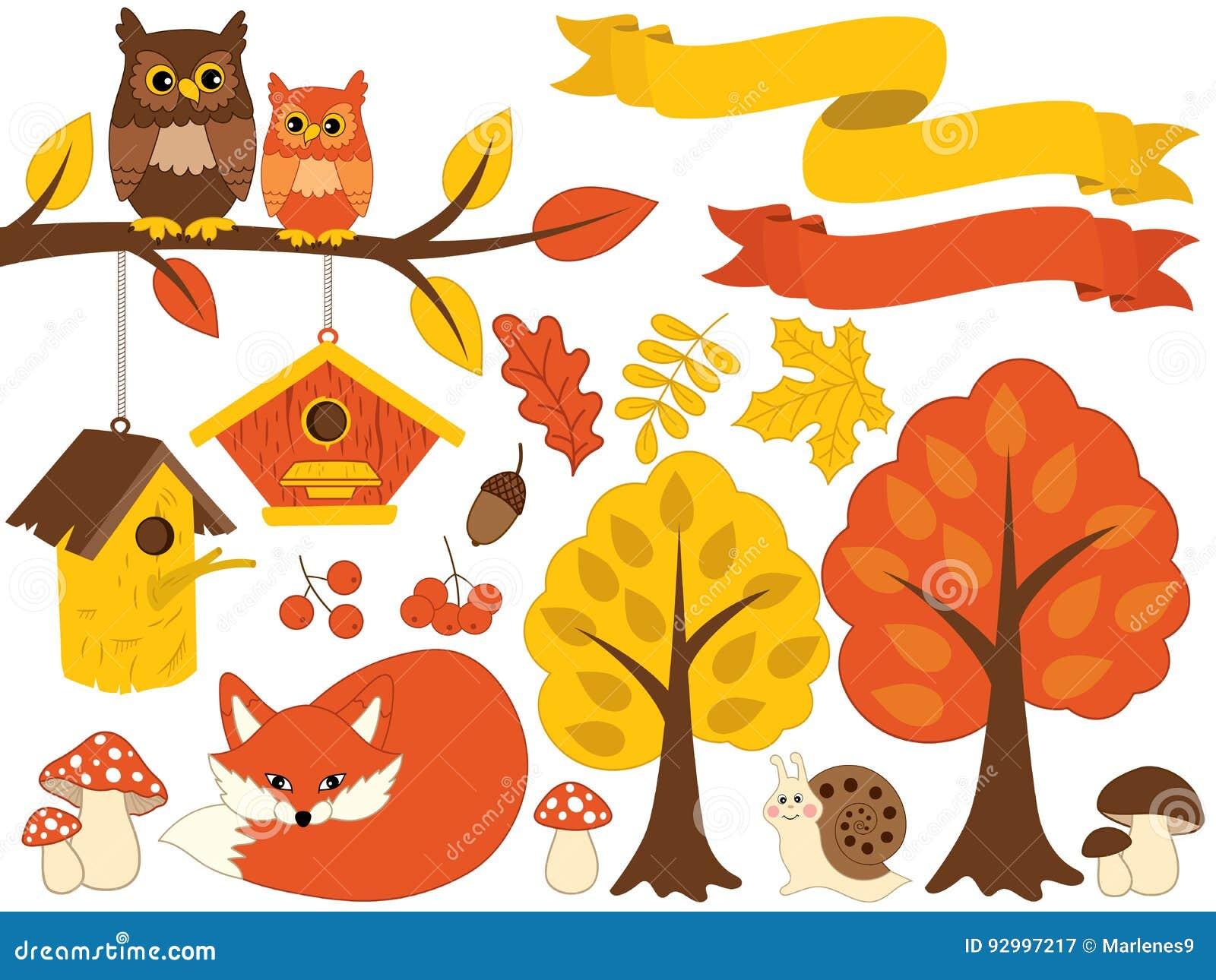 Vector Autumn Forest Set with Cute Bear, Owls, Mushrooms, Birdhouses. Vector Autumn Set. Fall Clipart