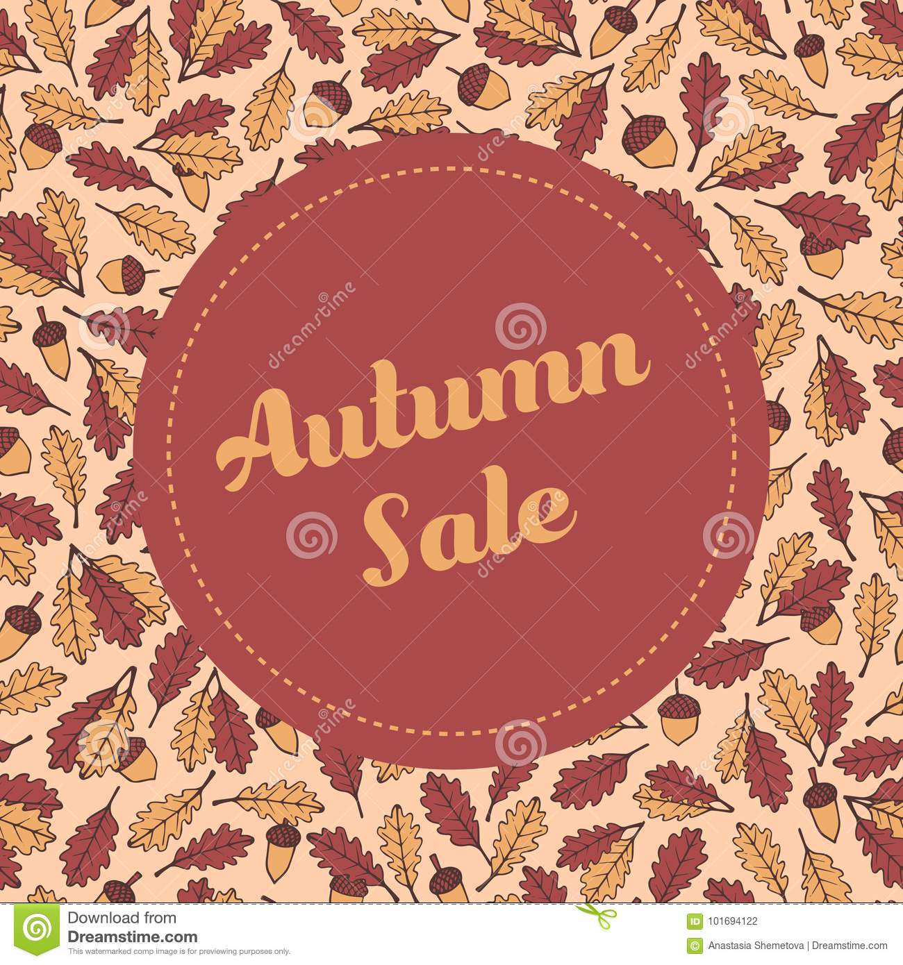 vector autumn sale banner template with pattern containing oak