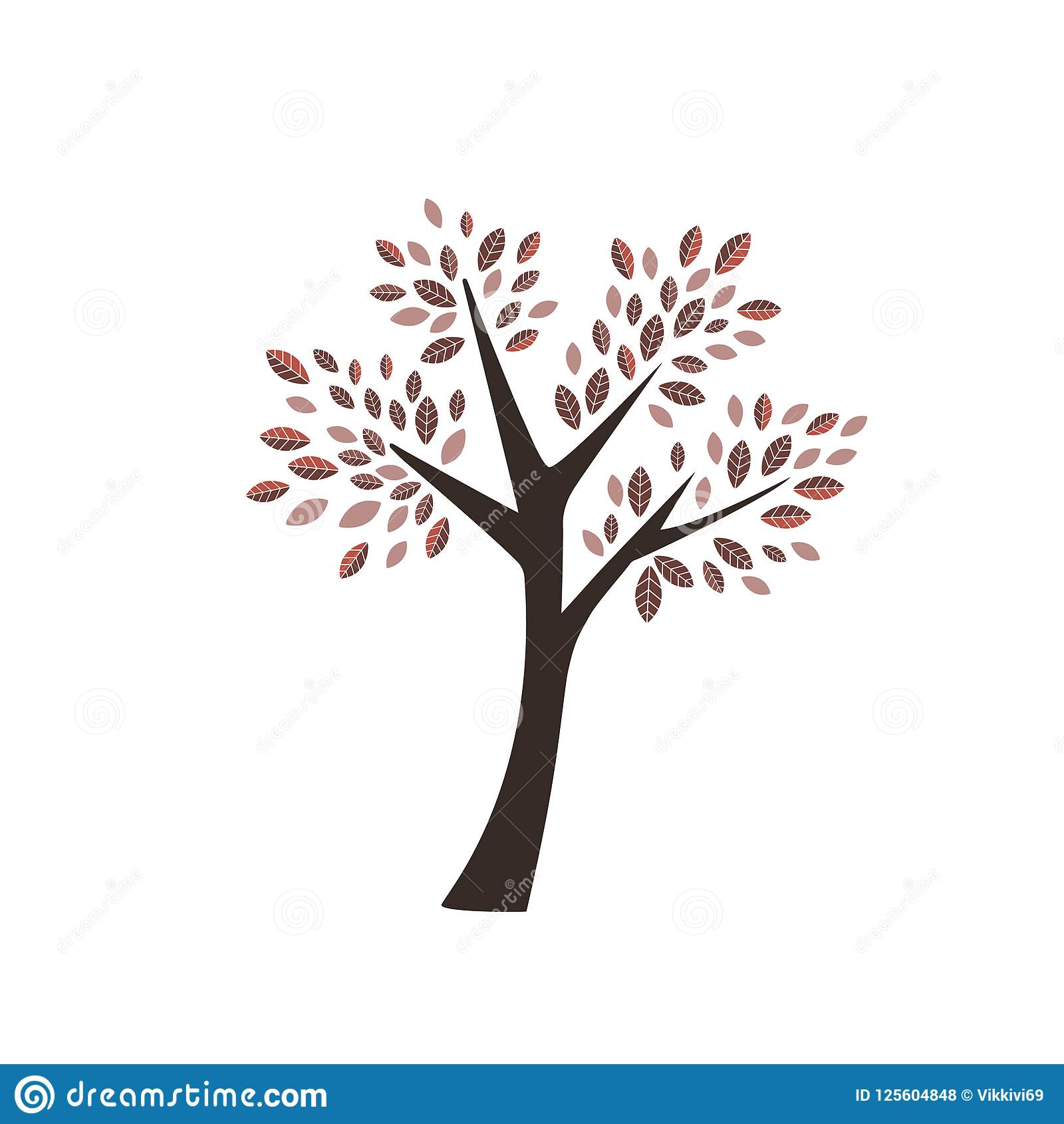 Vector autumn tree with dark and light red orange leaves with brown trunk icon icon logo forest plant on white background