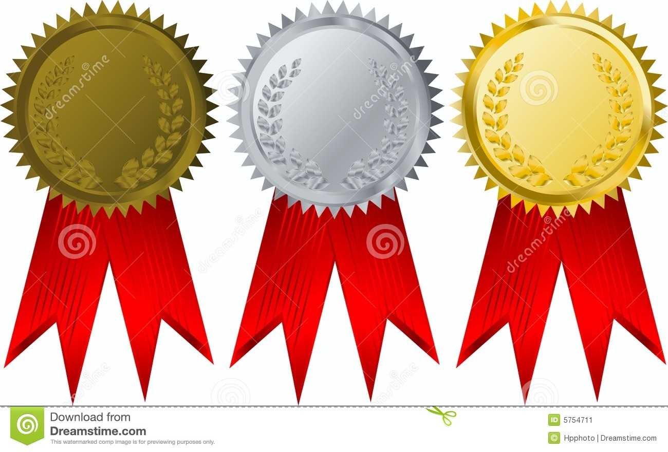 award medals gold silver bronze stock vector illustration of