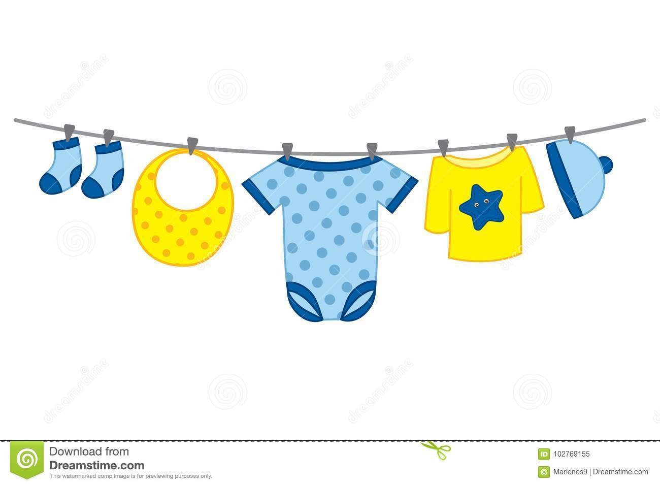 Baby Clothes Line Washing Stock Illustrations – 6 Baby Clothes