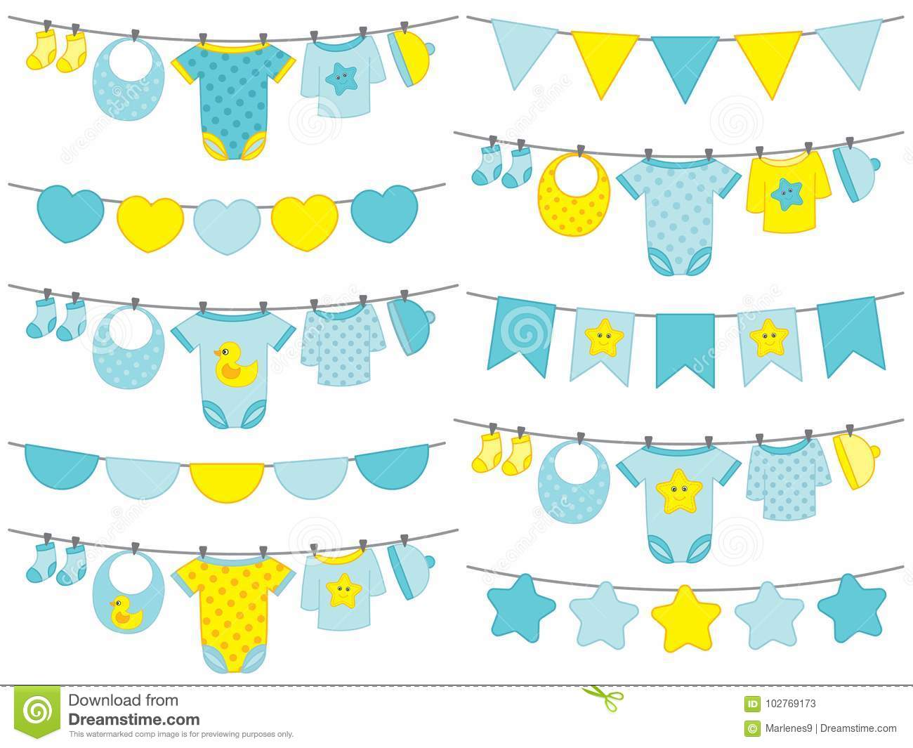 Vector Baby Boy Clothes Hanging On Line Stock Vector Illustration