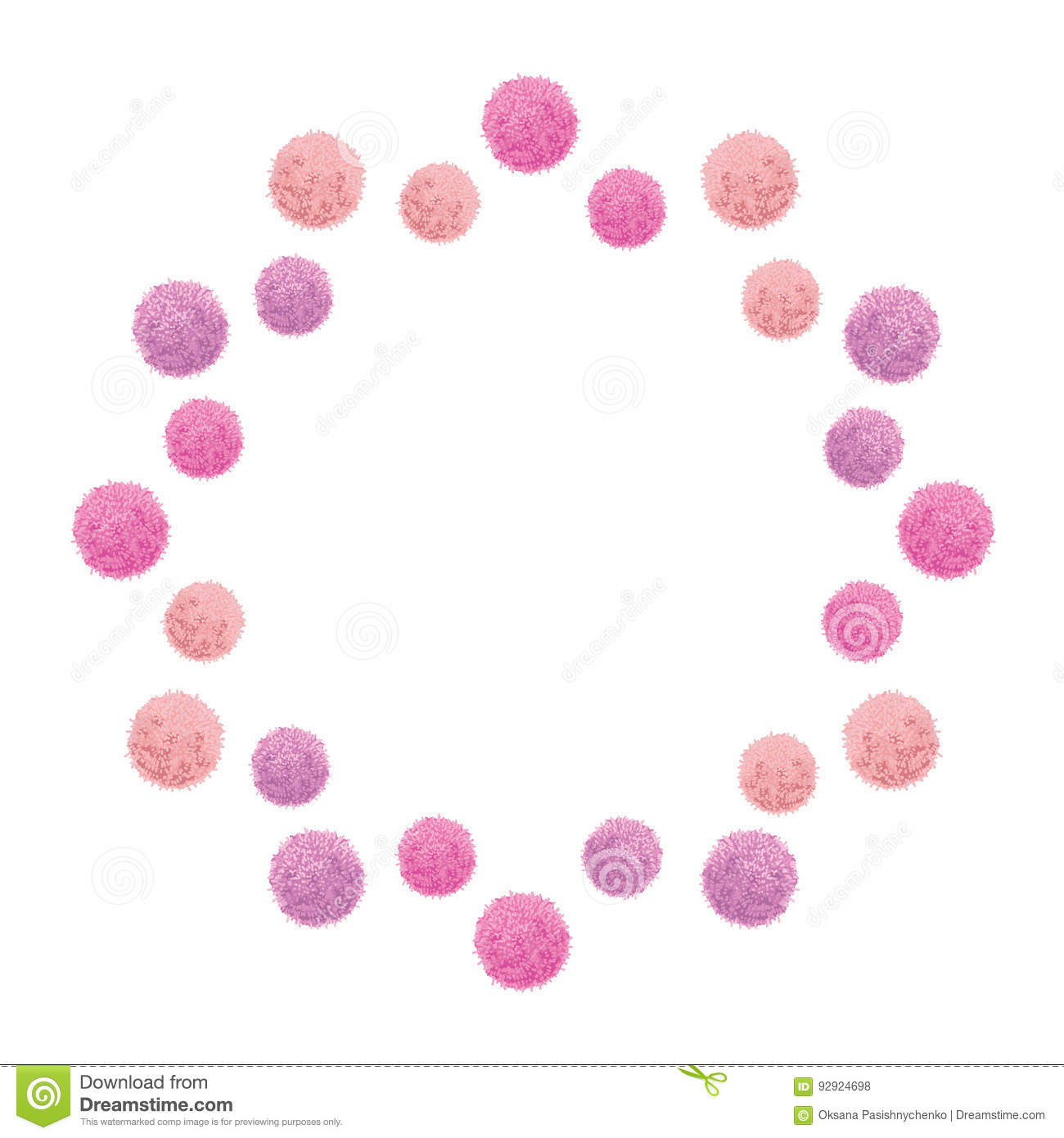 Vector Baby Girl Pink Birthday Party Pom Poms Circle Set And Round ...
