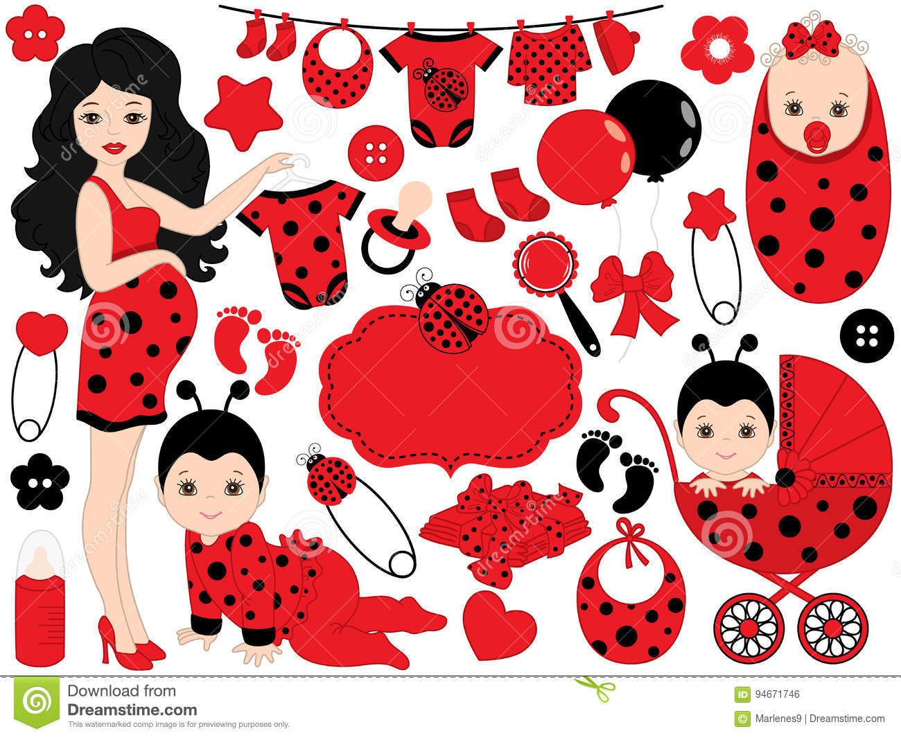 18c55460a Vector Baby Girl Set with Ladybug Pattern. Vector Baby Girl. Vector Baby  Shower.
