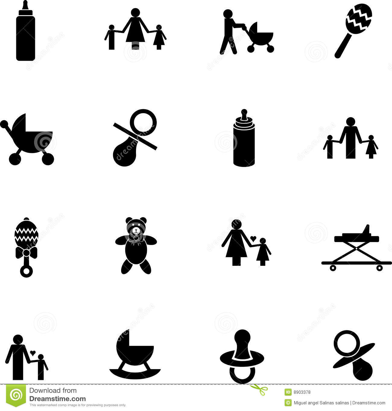 Baby Silhouettes Items Stock Vector Illustration Of Bowl 8229243