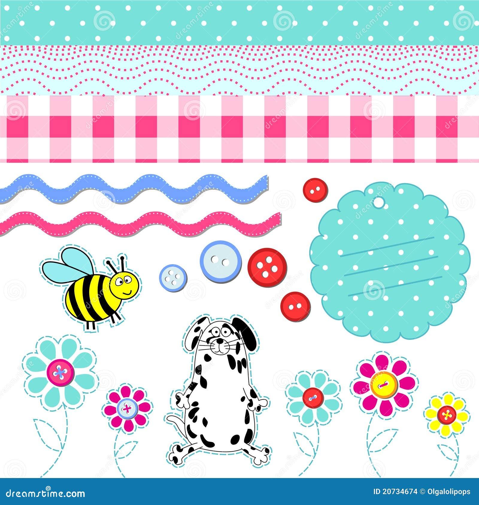 Vector Baby Scrapbook Elements Stock Images Image 20734674
