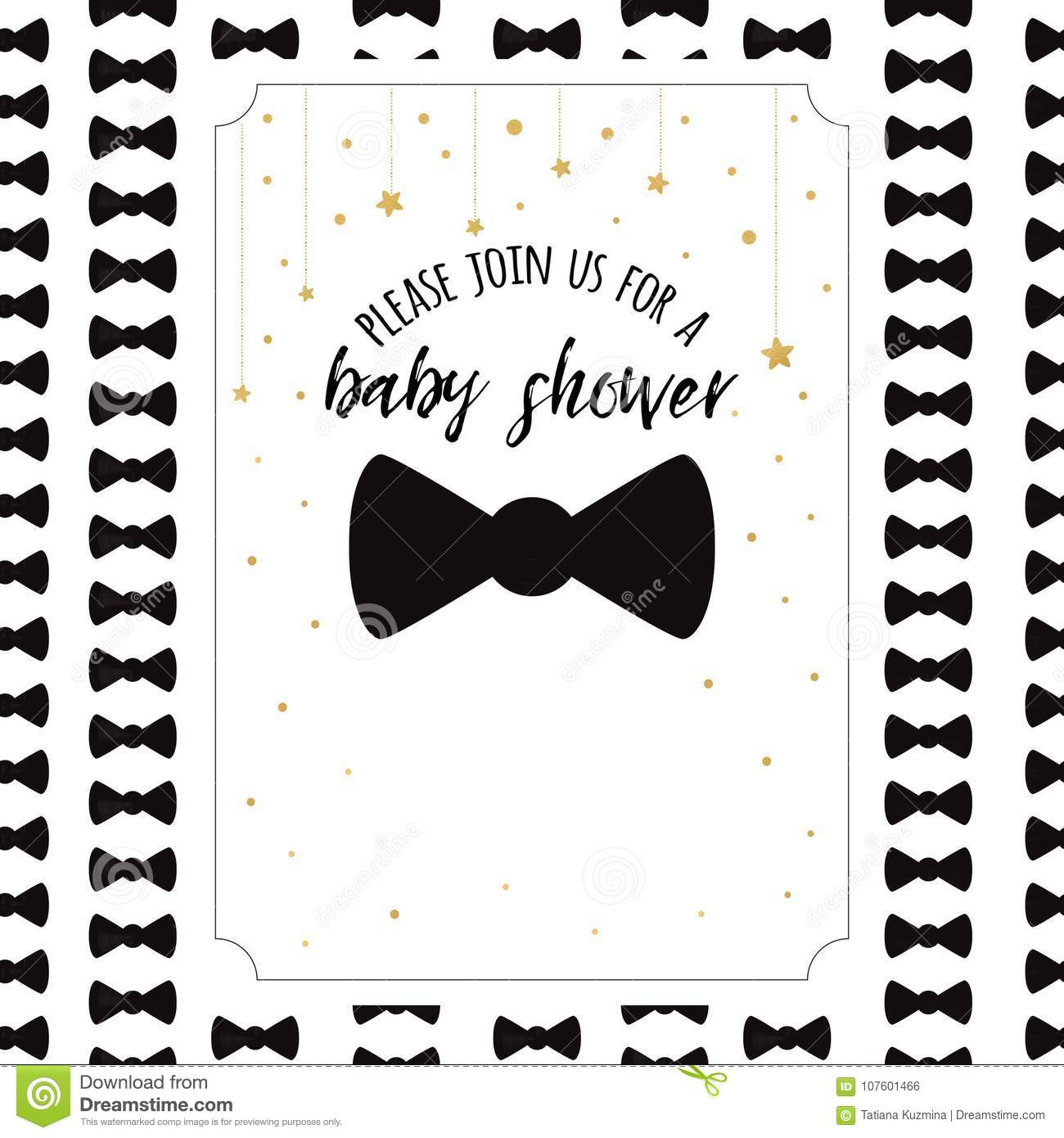 Vector Baby Shower Invitation Template With Sparkle Golden Stars ...