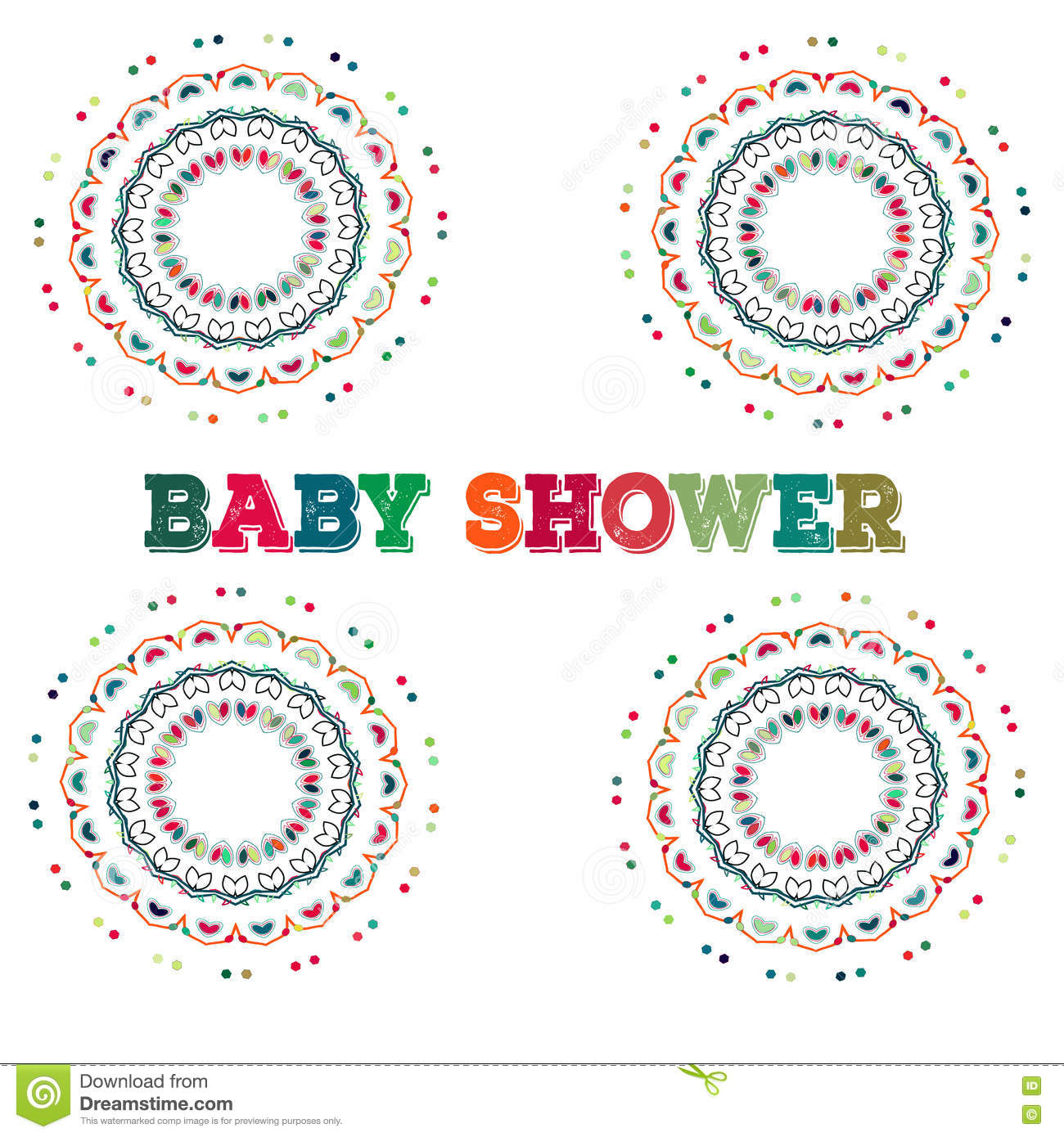 Vector baby shower symmetry circle shape child decoration for Baby shower decoration templates