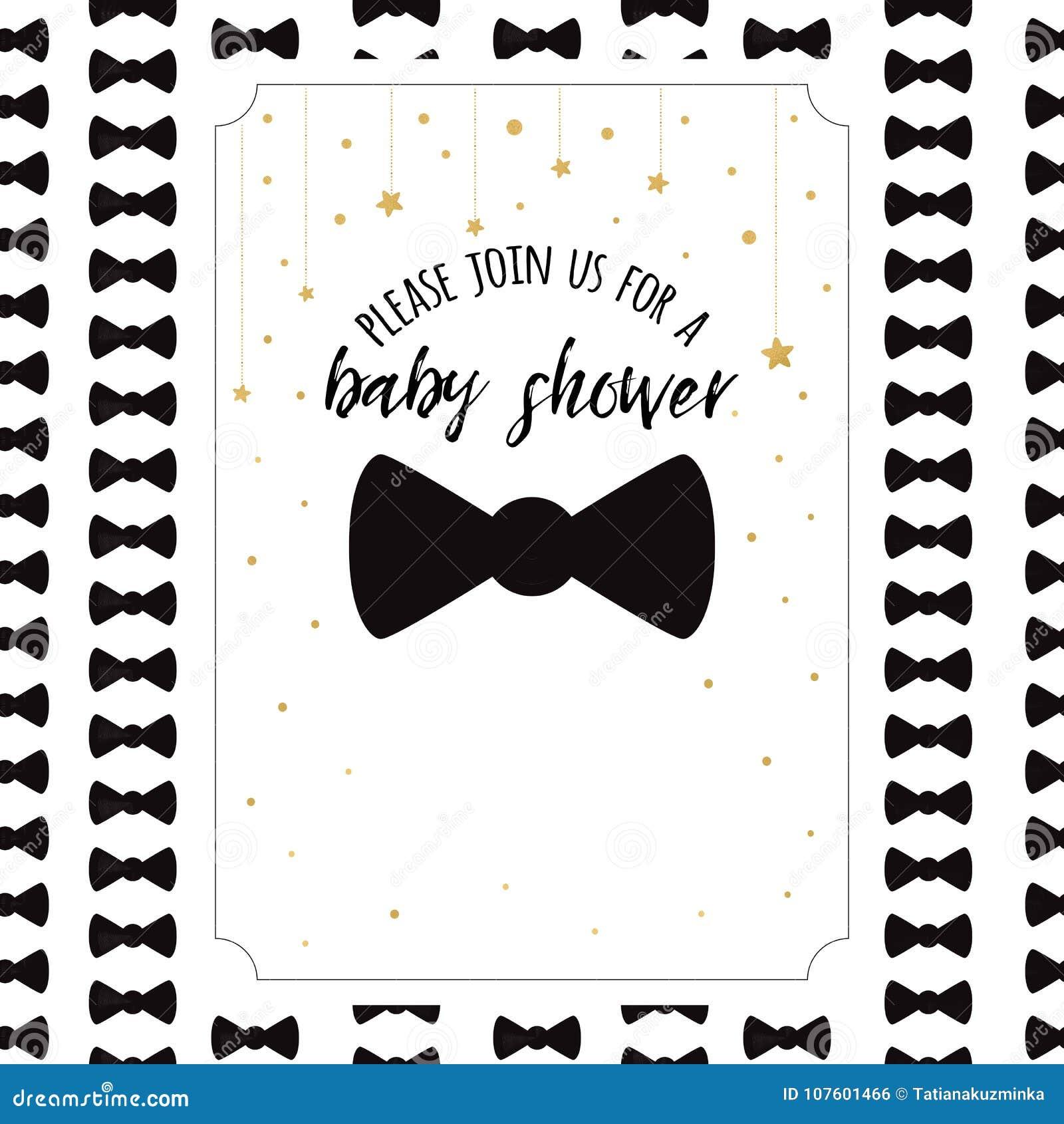 Vector Babyparty-Einladungs-Schablone Mit Goldenen Sternen Des ...
