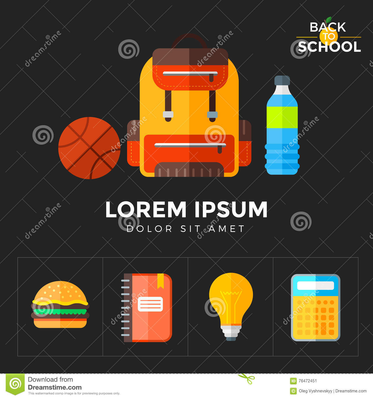 Vector Back To School Icons Set  Suitable For Banners, Print