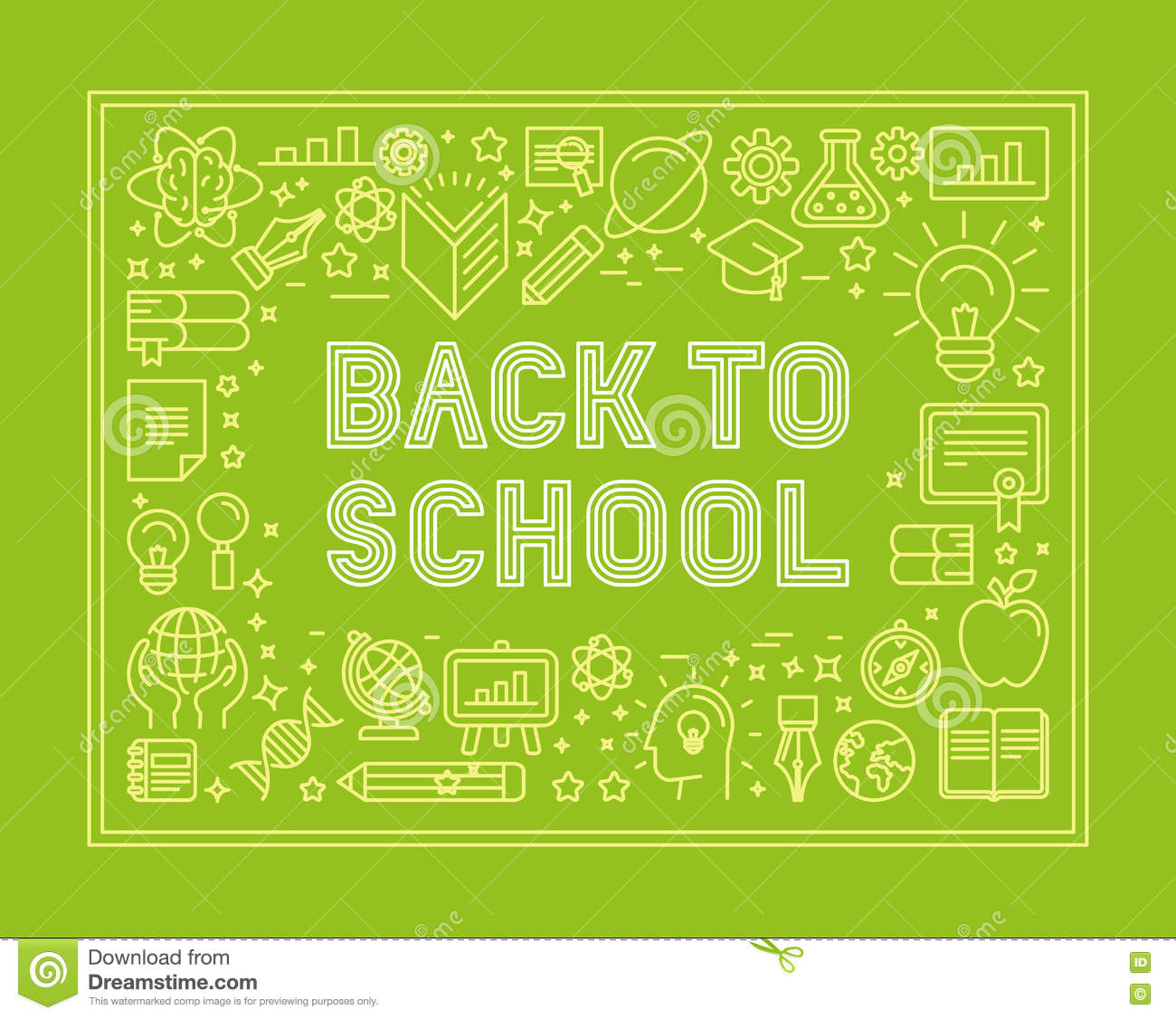 Trendy Poster Designs: Vector Back To School Poster Design In Trendy Linear Style