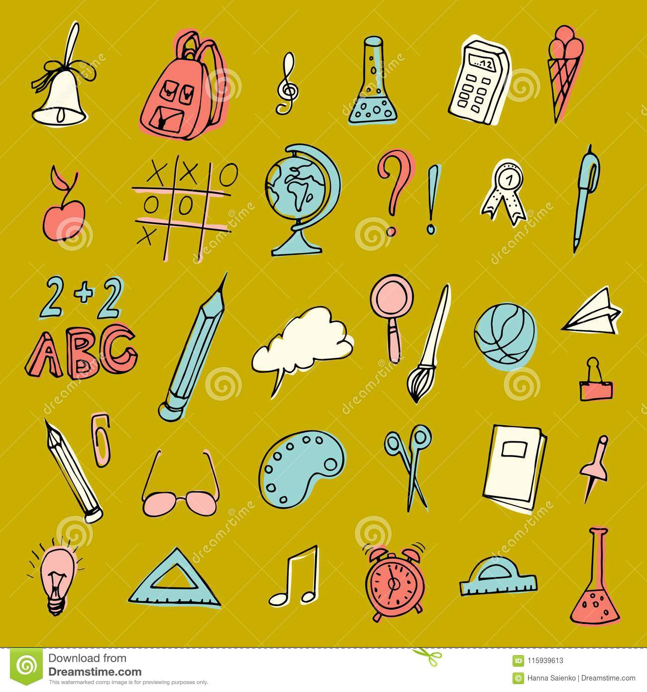 Vector back to school set . High school object items. Set of school supplies. Hand Drawn Doodles illustration
