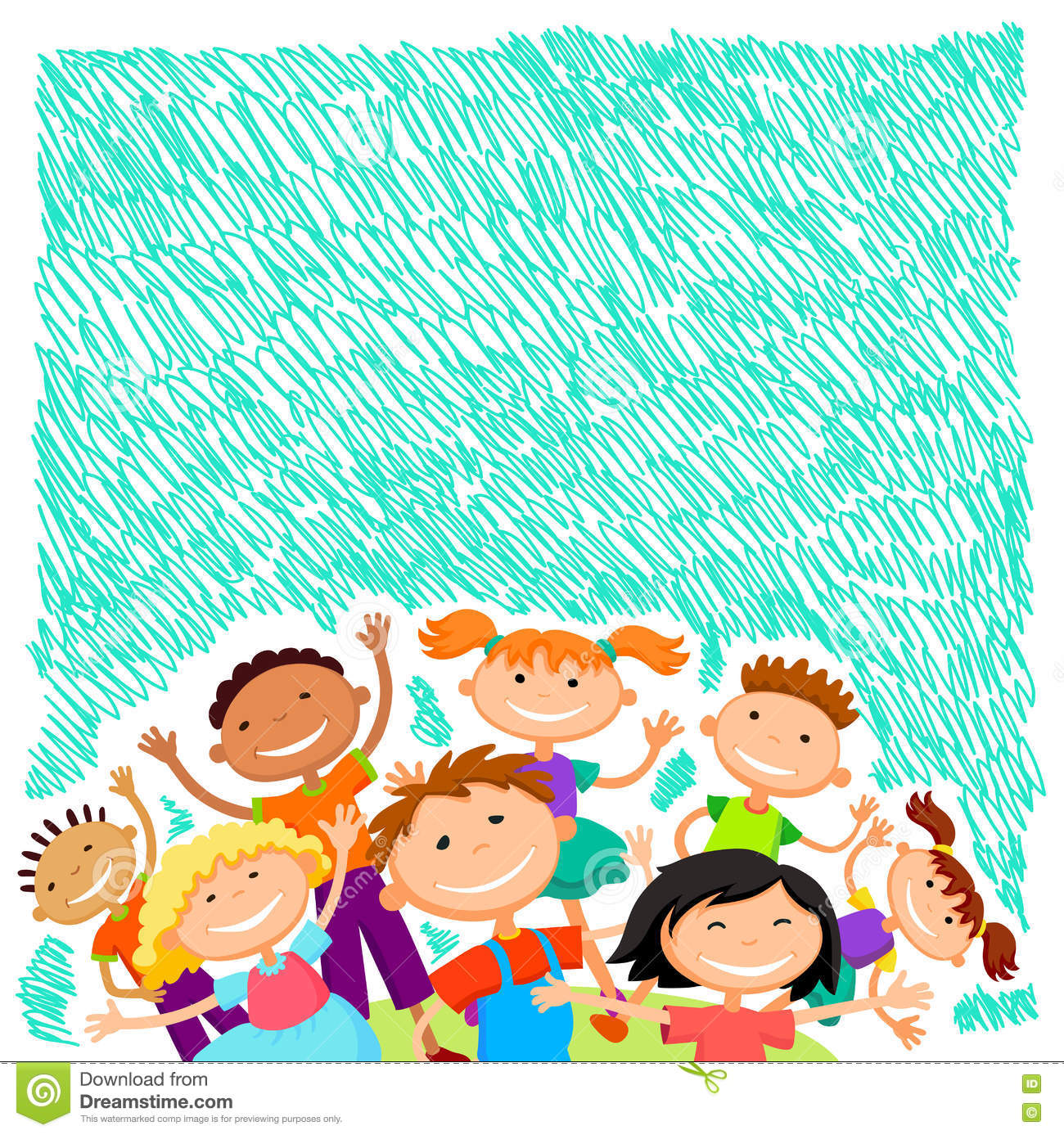Vector Background Blank With Kids Summer Camp Stock Vector