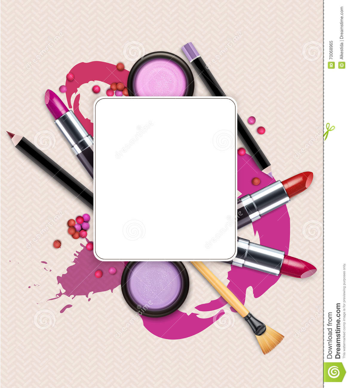 Vector Background With Cosmetics And Make Up Flyer