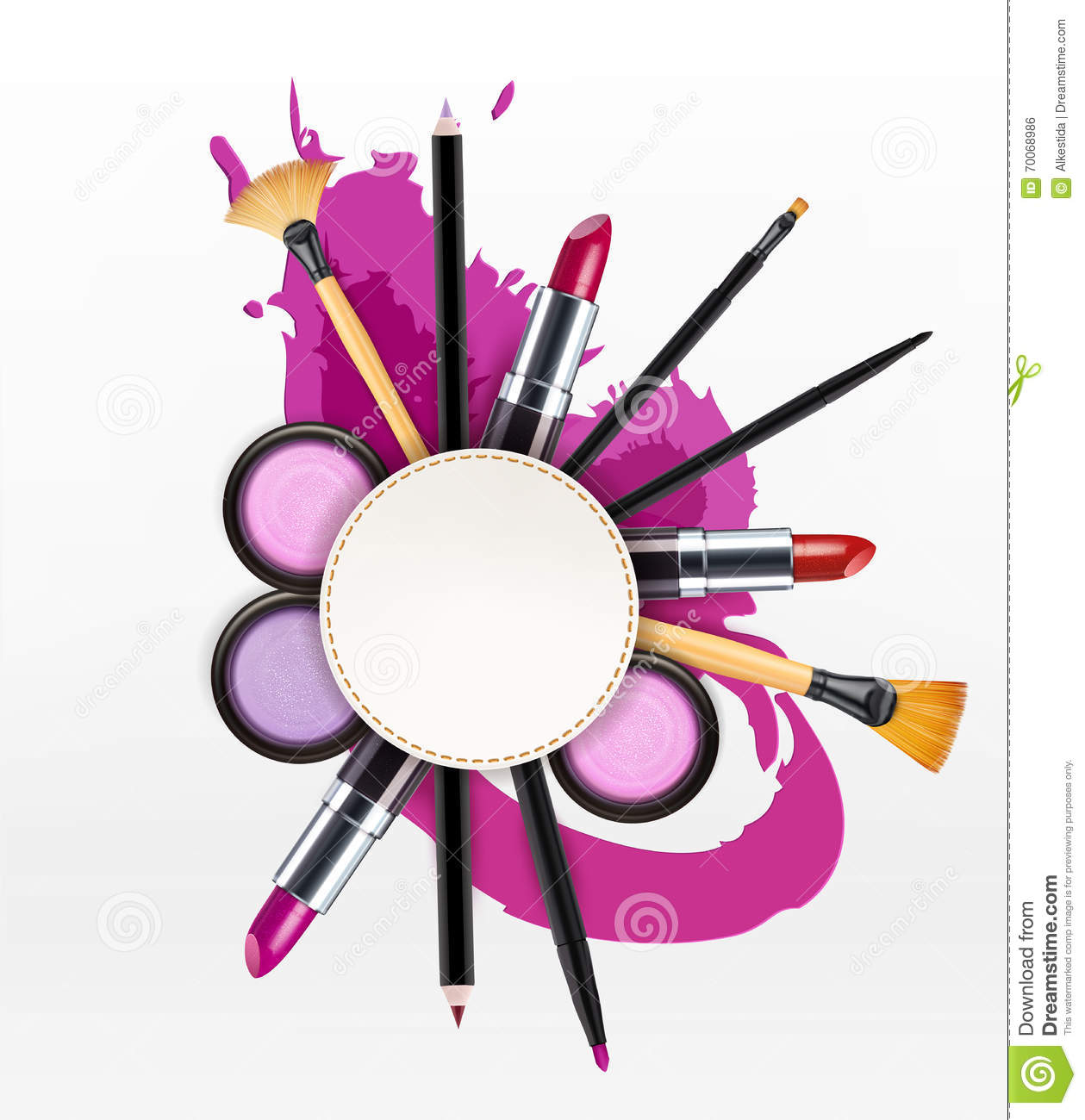 Vector background with cosmetics and make-up objects and place f