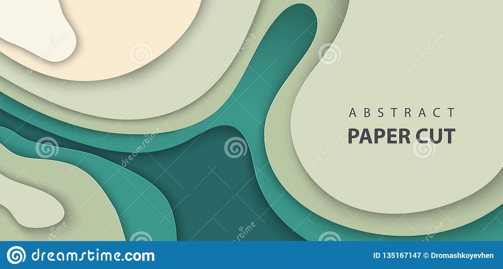 Vector background with deep green color paper cut waves shapes. 3D abstract paper art style, design layout