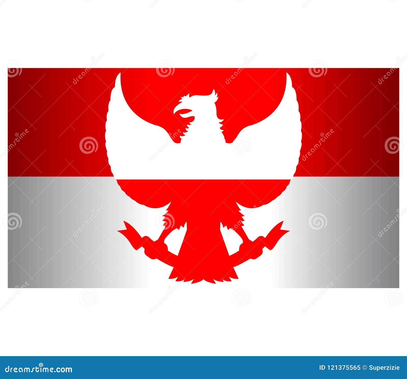 Red White Garuda Indonesia Flag Wide Screen Background Stock