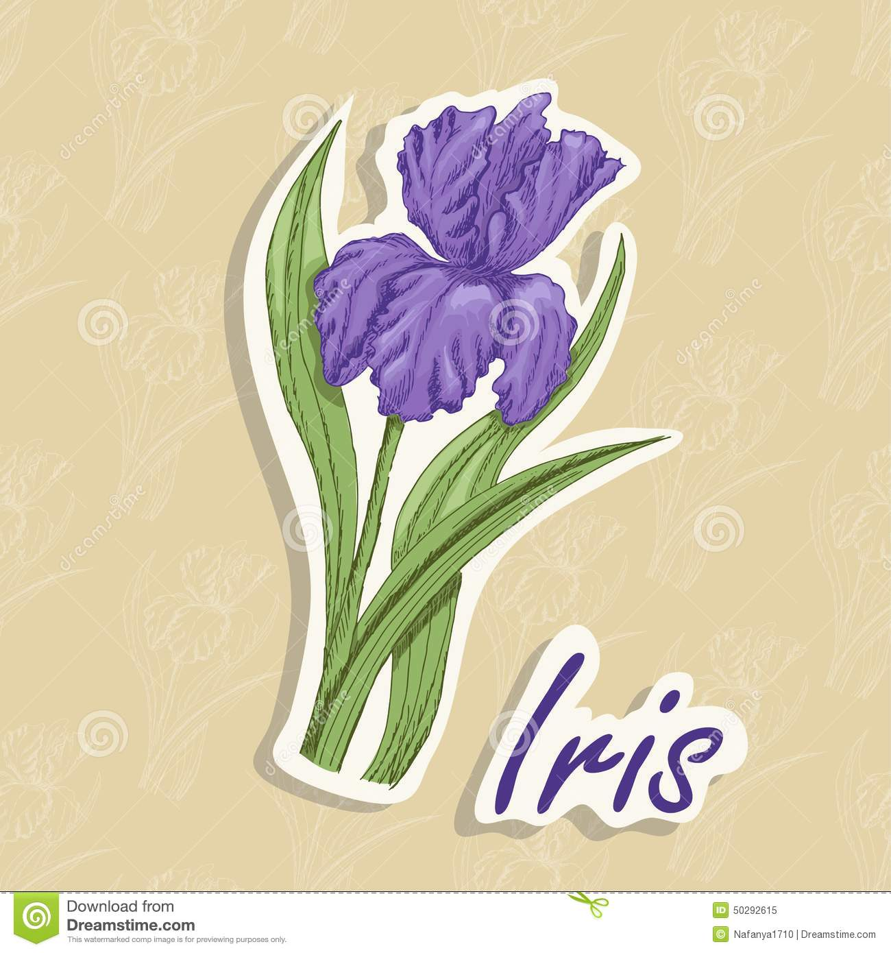 Vector background with a flower hand drawing illustration of an vector background with a flower hand drawing illustration of an iris izmirmasajfo Choice Image