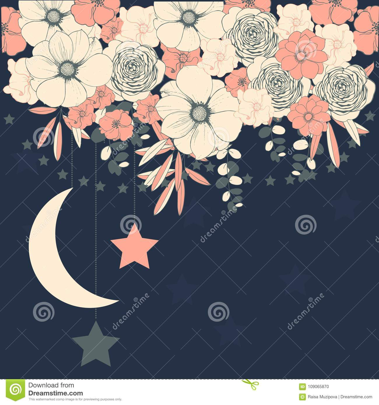 Vector background with flowers and stars. Wedding invitation, gr