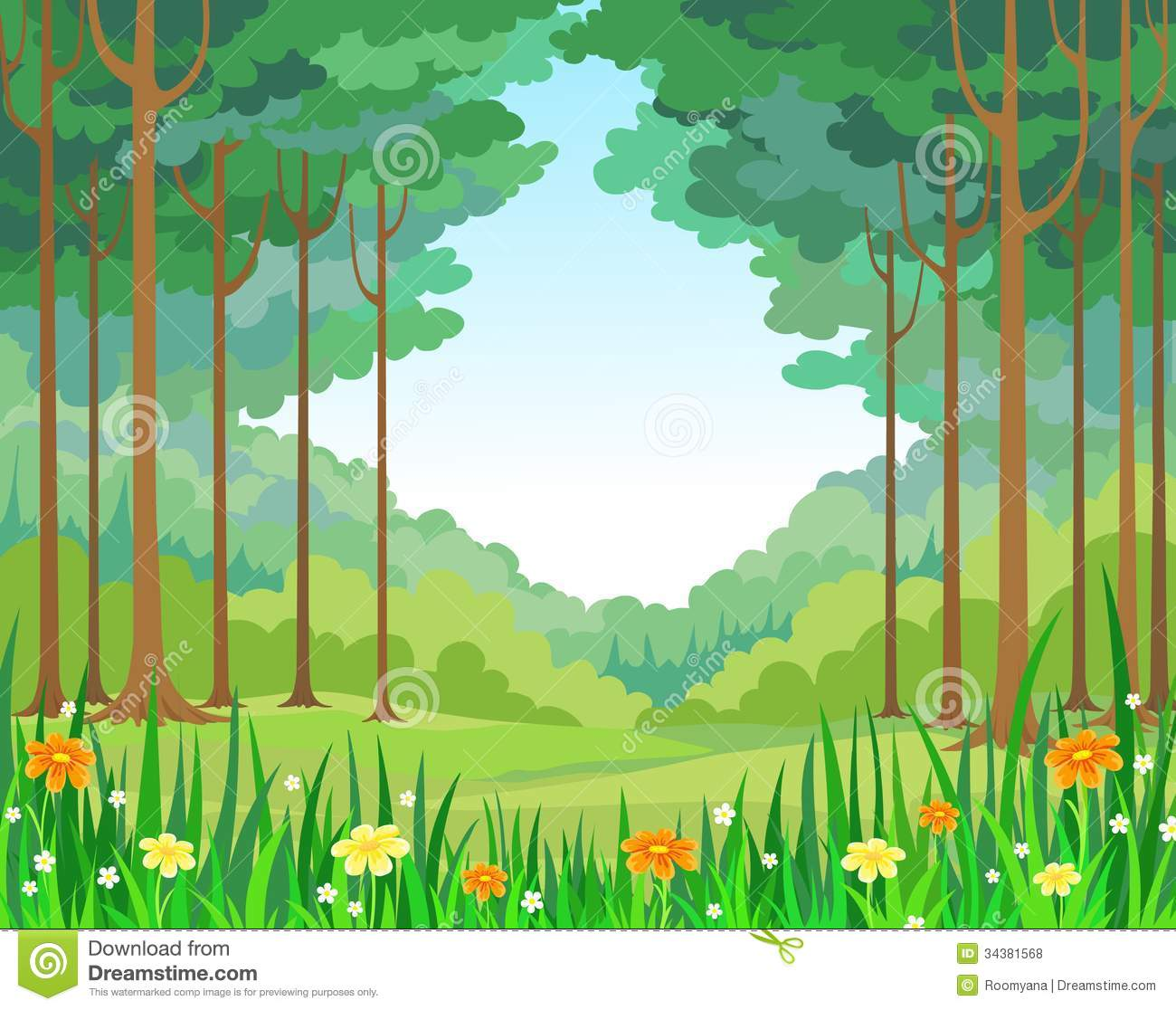 Vector Background Forest Royalty Free Stock Photos - Image: 34381568