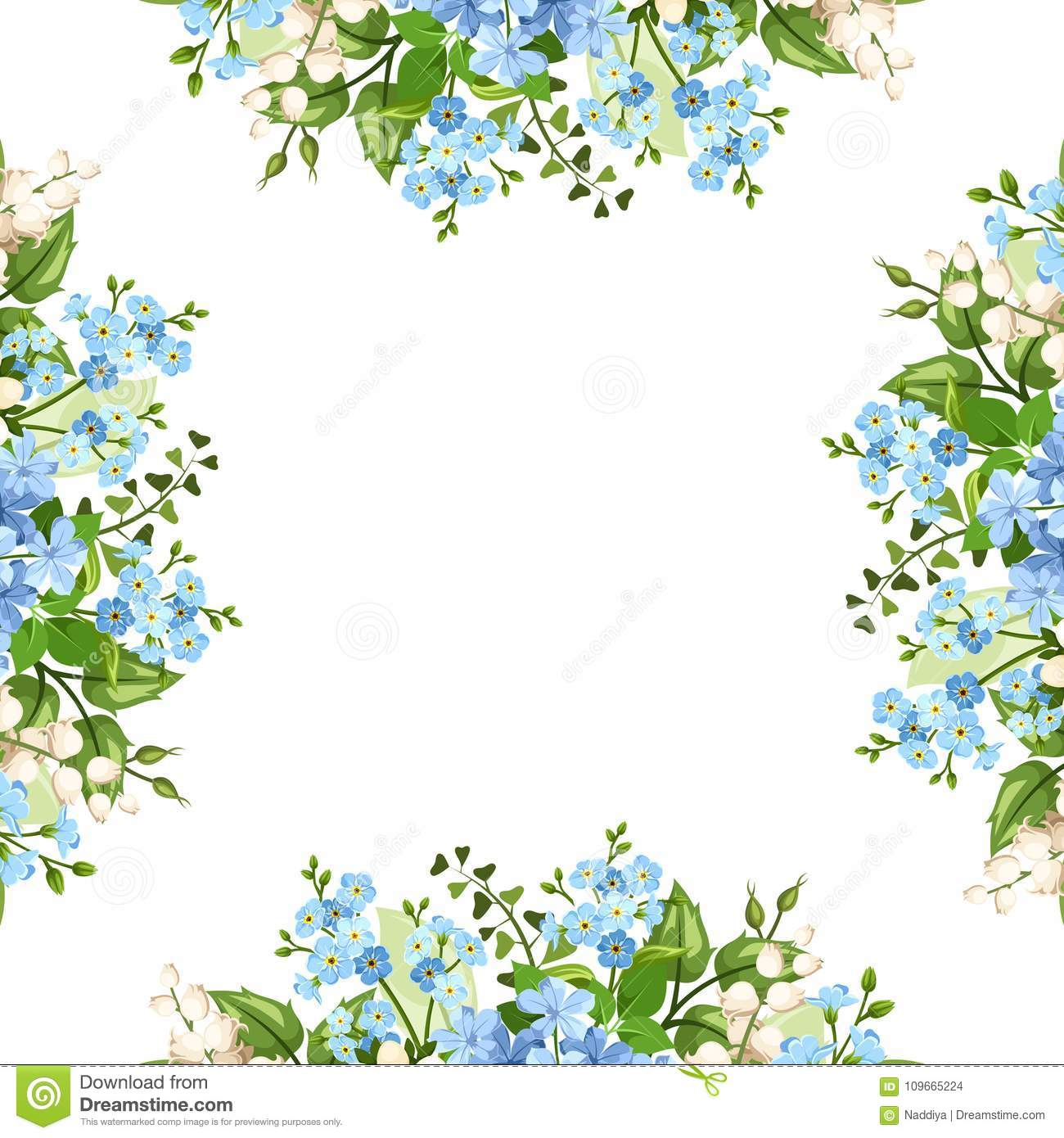 Background Frame With Blue And White Flowers Vector Illustration