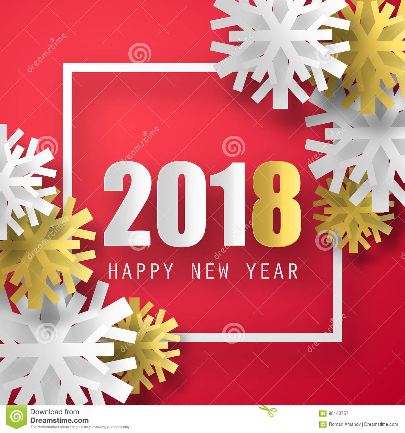 2018 vector background happy new year greeting card christmas happy new year greeting card with 3d snowflakes christmas poster m4hsunfo