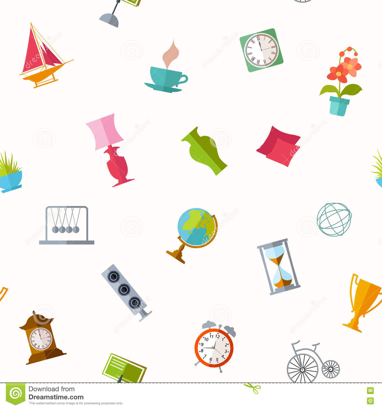 Vector Background With A Home Decor. Stock Vector ...