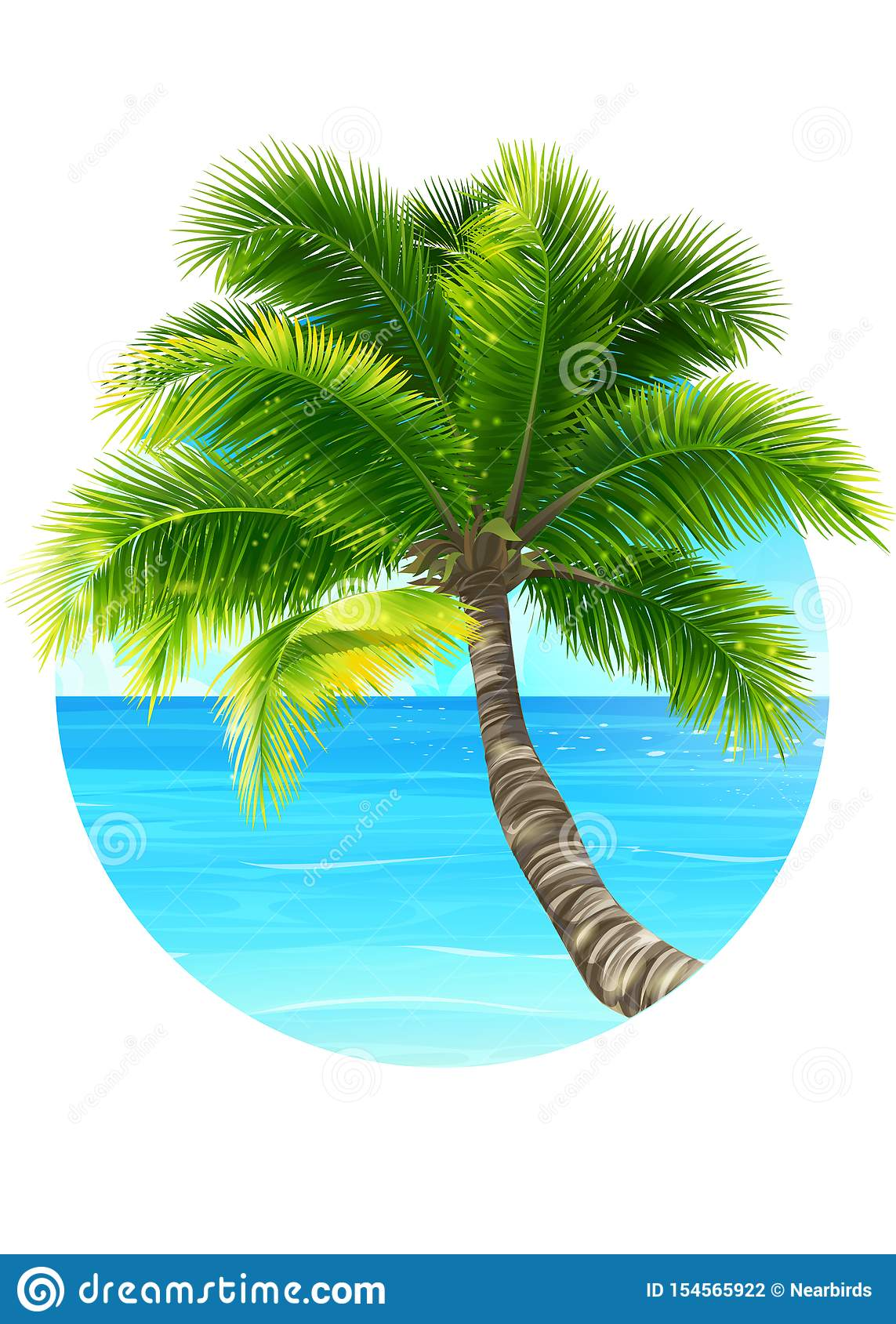 Vector background illustration palm tree and ocean