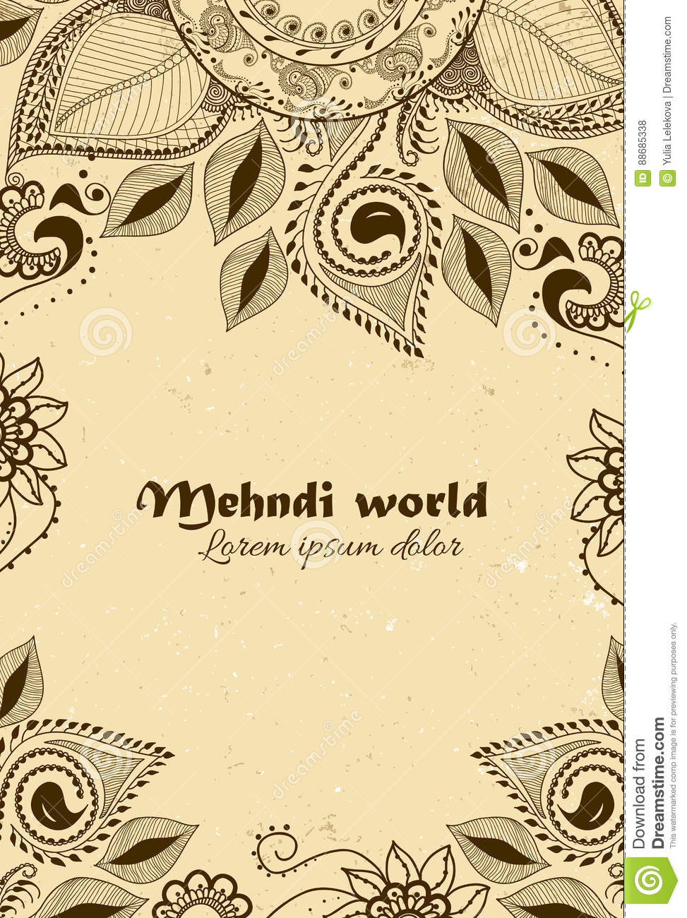 Vector Background In Indian Ornamental Style Mehndi Floral Ornament