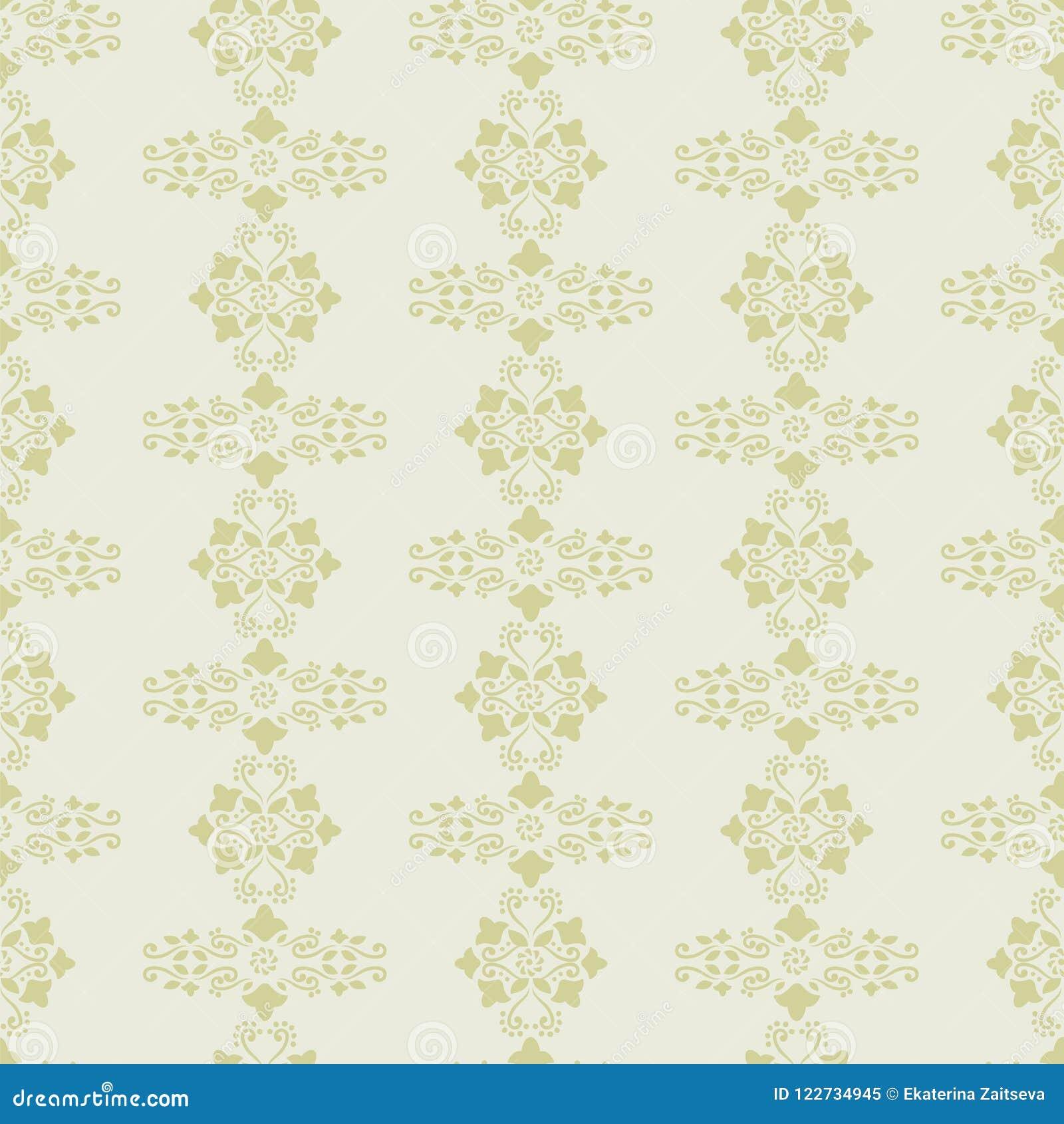 Vector Background Light Gray And Mustard Delicate Ornament Retro