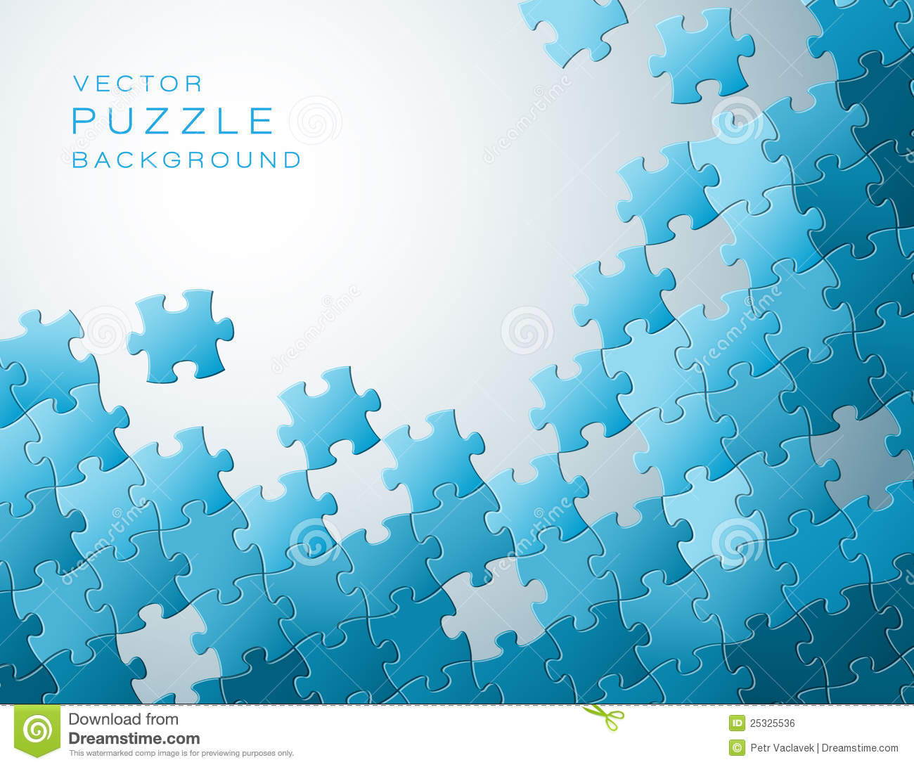 Vector Background Made From Blue Puzzle Pieces Royalty