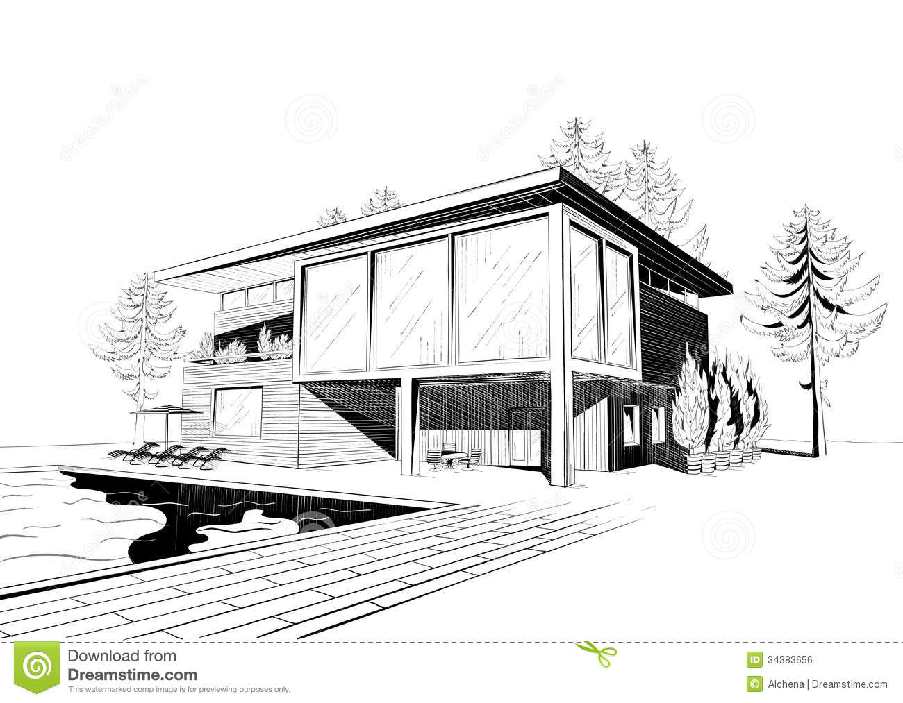Vector background with modern house with swimming stock for Online architecture drawing
