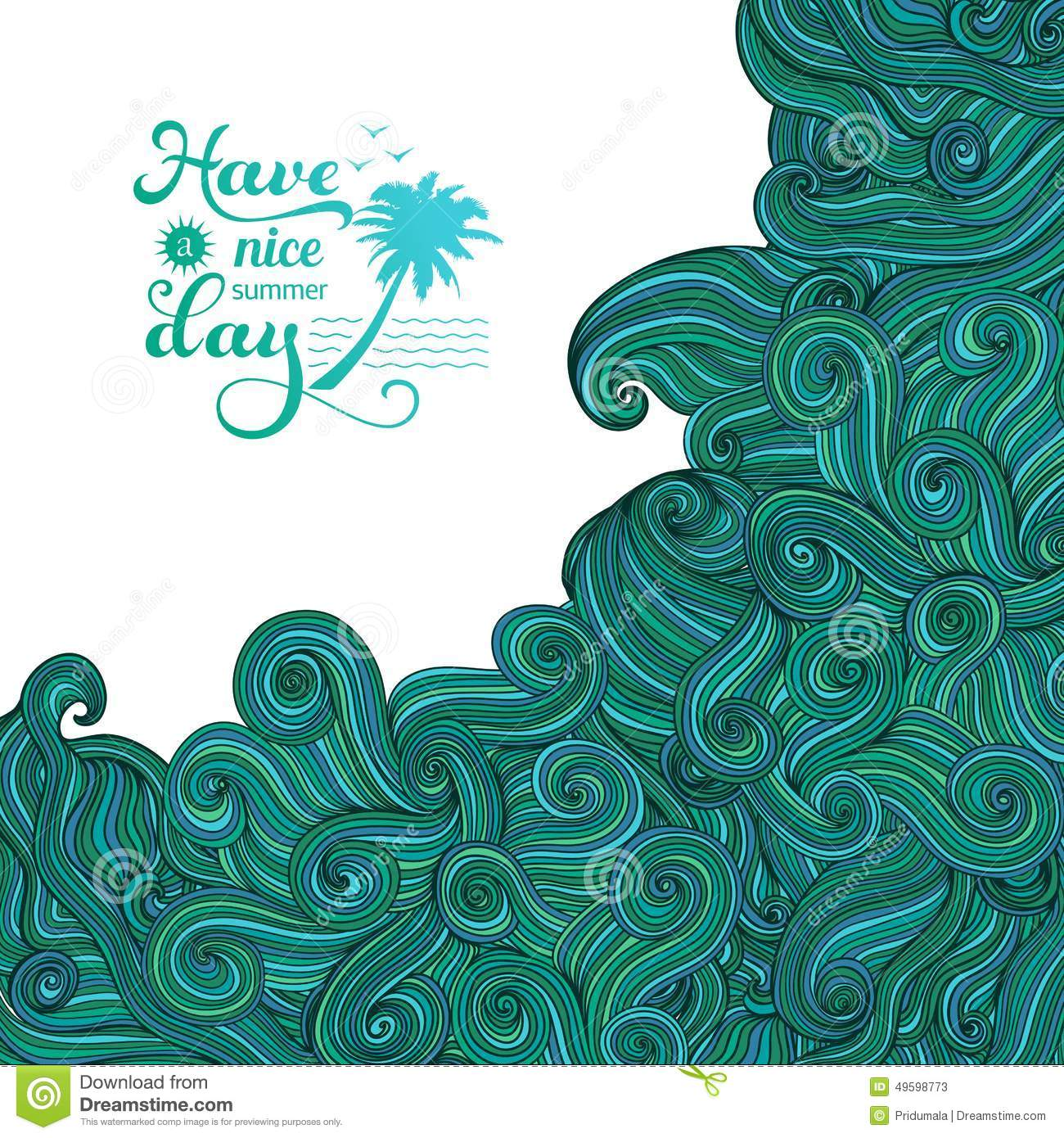 Vector Background With Ornament Big Wave Tsunami Summer Logo - Fresh tsunami powerpoint presentation design
