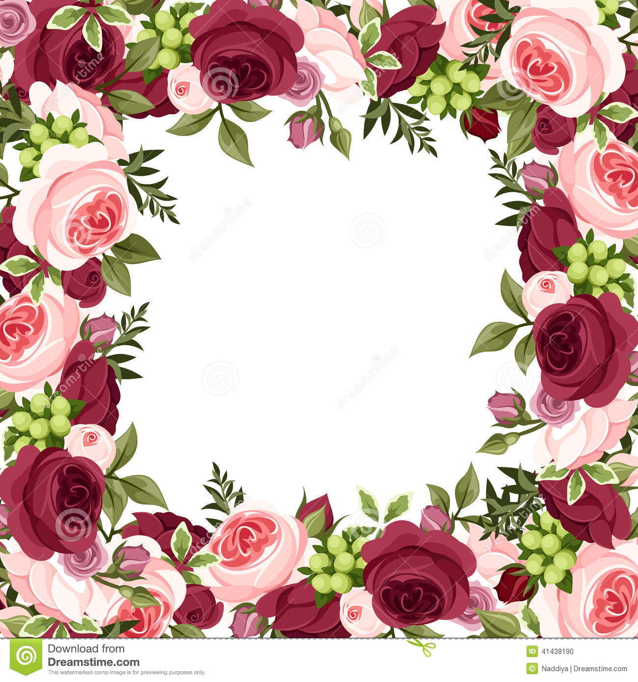 Vector Background With Red And Pink Roses Stock Vector