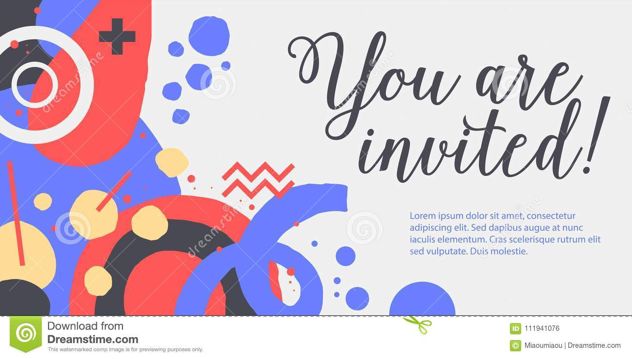 Vector Background Template With Funky Hand Drawn Elements Can Be Used For Party Birthday Invitations And Weddings