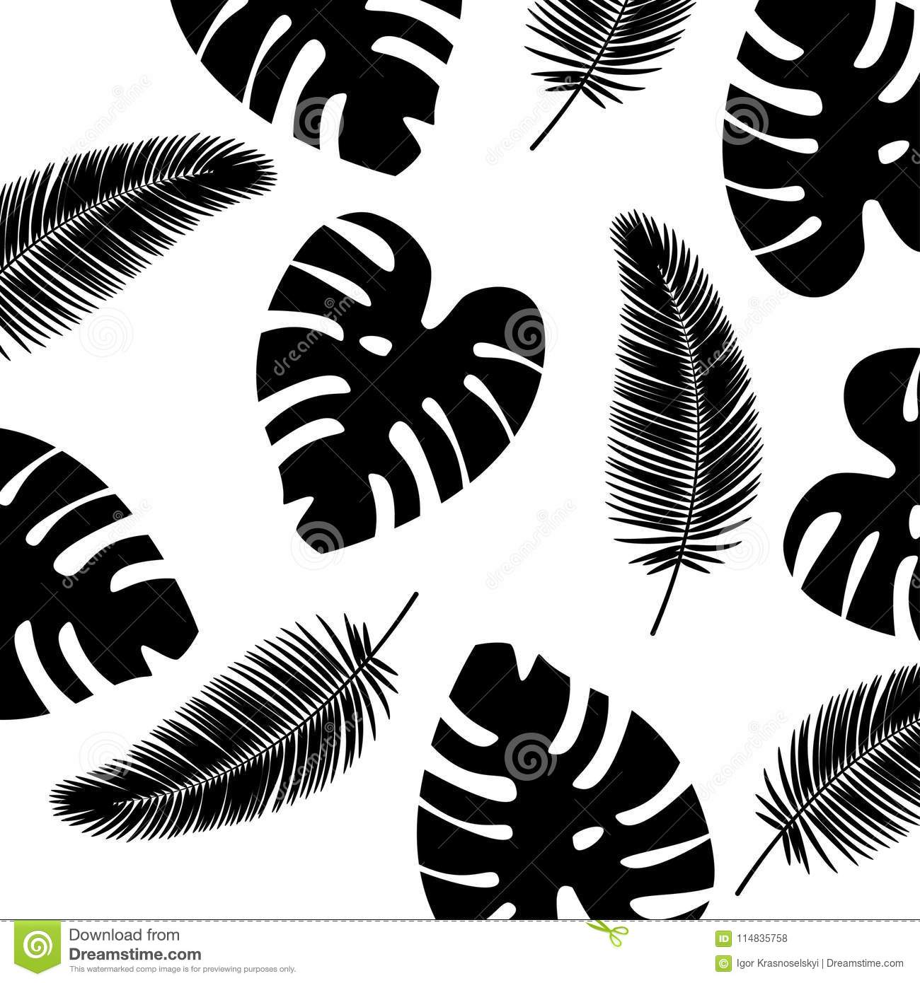 Vector Background Tropical Leaves Pattern Black And White Color Stock Vector Illustration Of Fabric Hawaii 114835758 The most common tropical leaf vector material is paper. https www dreamstime com vector background tropical leaves pattern black white color black palm leaf vector background tropical leaves pattern black image114835758
