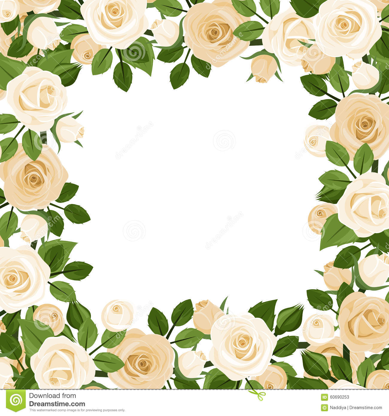 Vector Background With White Roses. Stock Vector - Illustration of ...