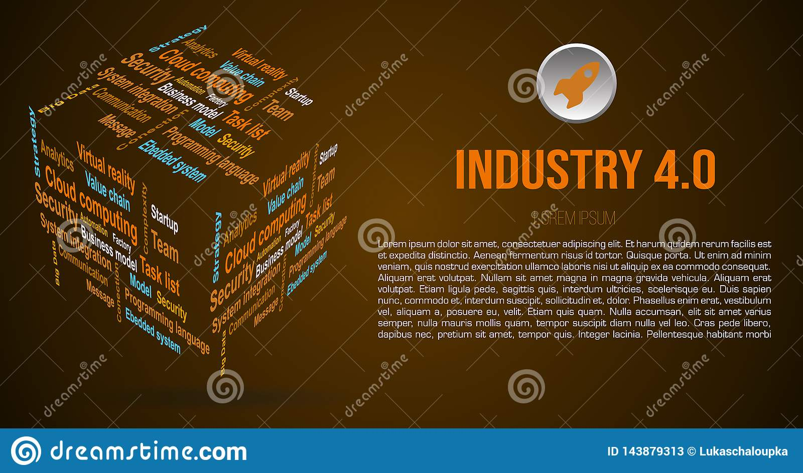 Vector background word cloud in 3D cube with terms about industry 4.0 in brown color