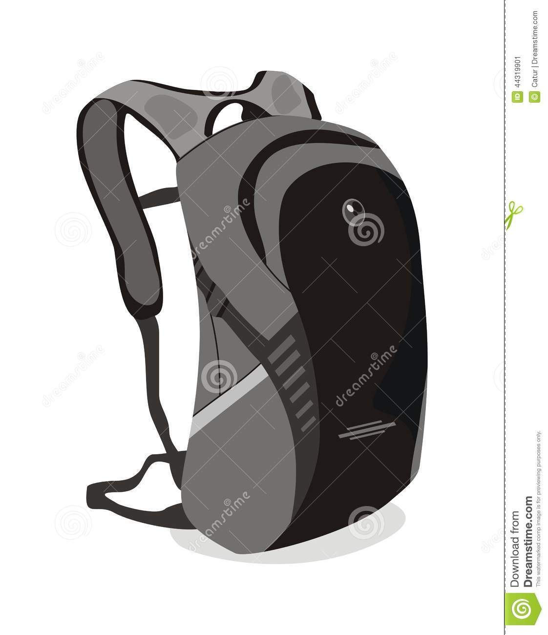 Isolated white vector backpack bag for school or college.