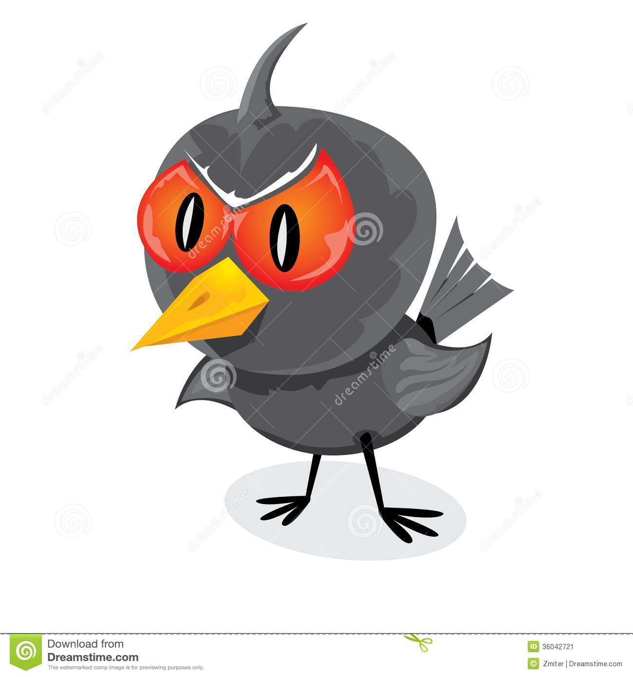 Vector bad angry black raven bird.